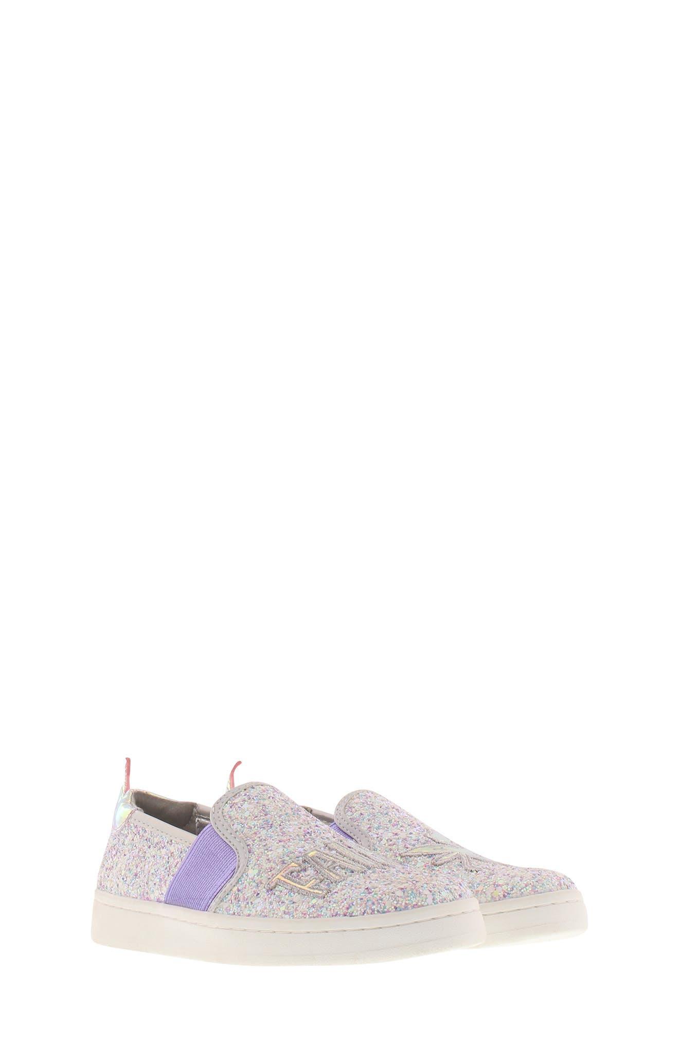 SAM EDELMAN, Blake Lina Fairy Glitter Slip-On Sneaker, Alternate thumbnail 9, color, PINK/ PURPLE