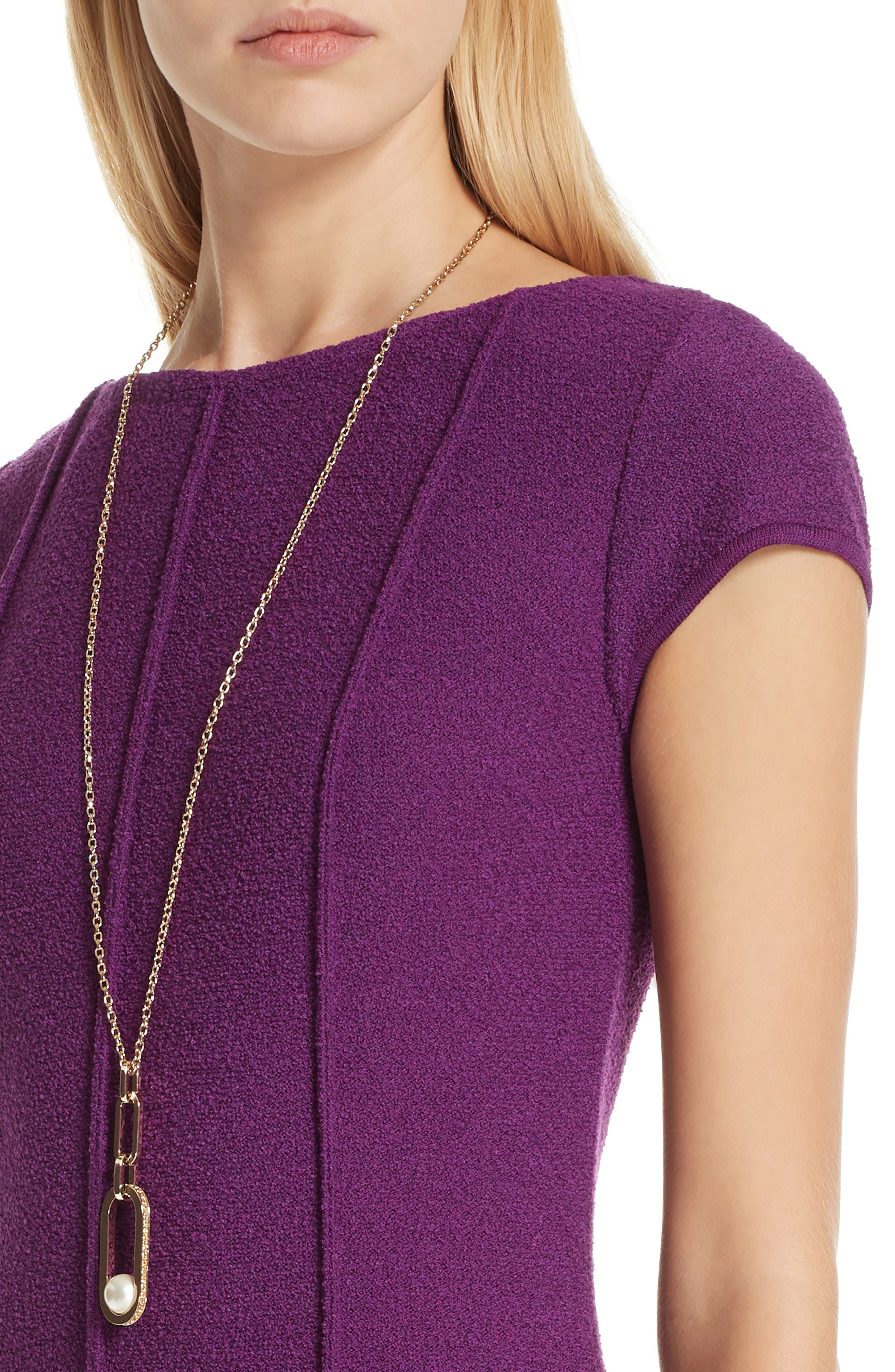 ST. JOHN COLLECTION, Ana Bouclé Knit Dress, Alternate thumbnail 4, color, IRIS