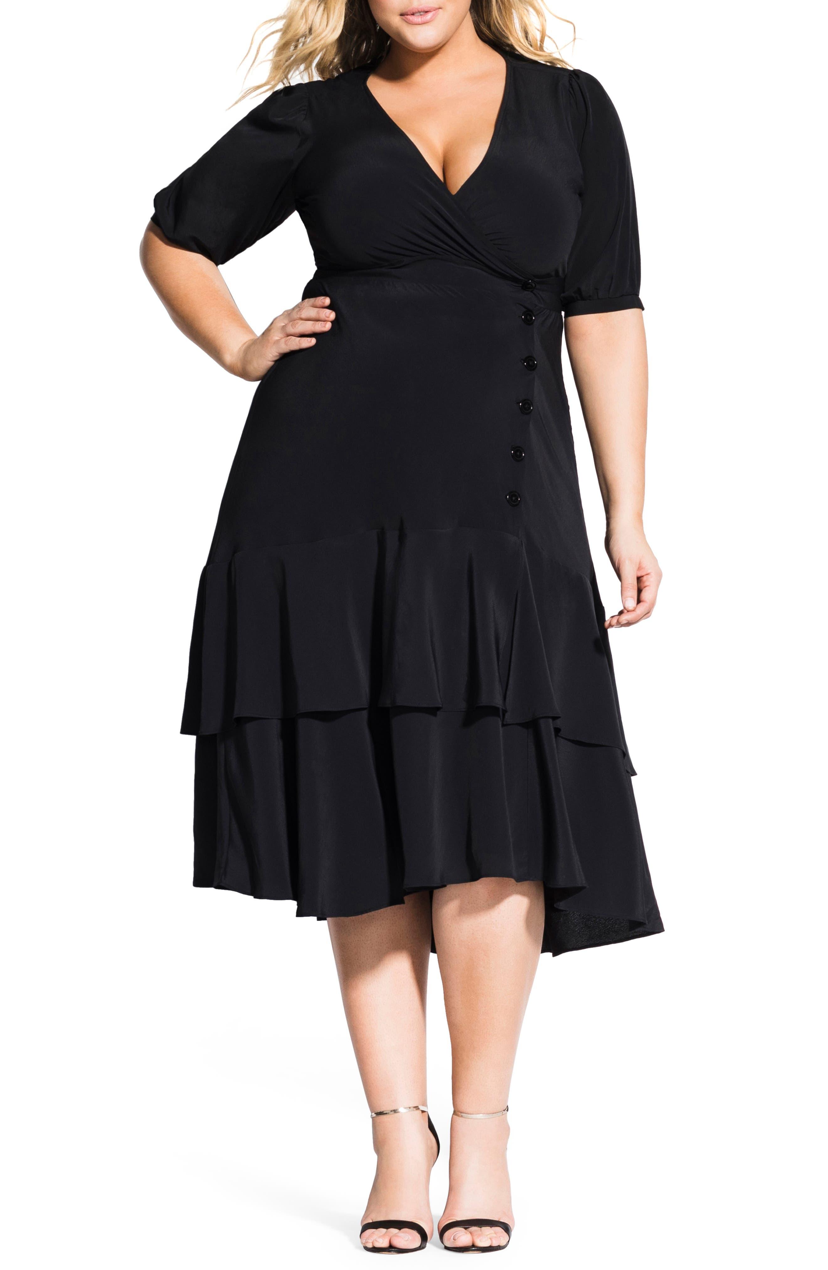 Plus Size City Chic Delight Fit & Flare Dress, Black