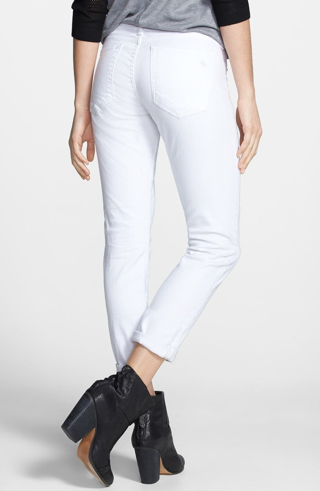 RAG & BONE, 'The Dre' Skinny Jeans, Alternate thumbnail 8, color, BRIGHT WHITE