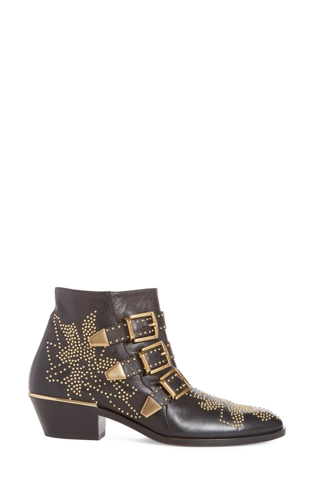 CHLOÉ, Susanna Stud Buckle Bootie, Alternate thumbnail 7, color, BLACK GOLD LEATHER