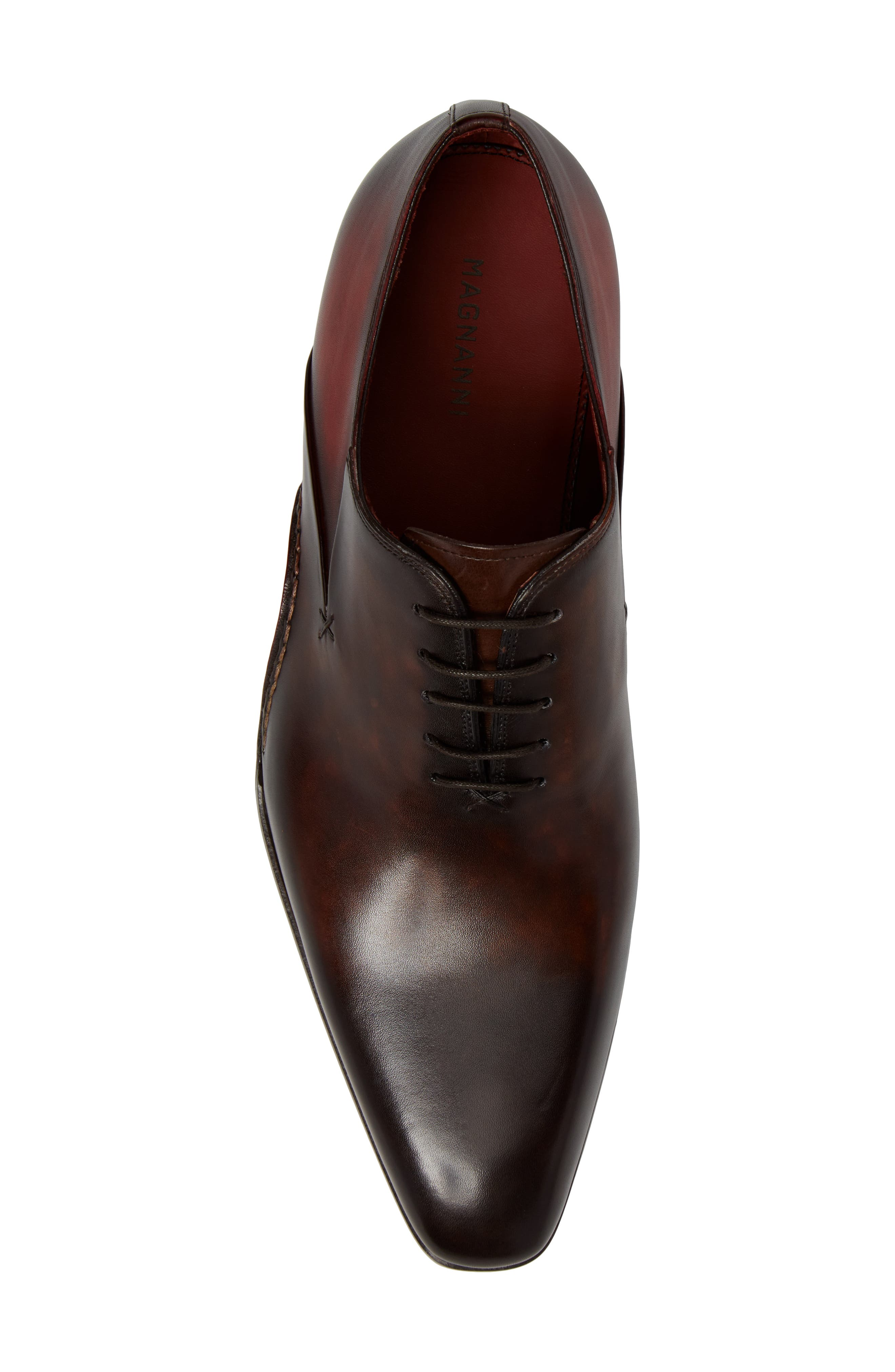 MAGNANNI, Cantabria Plain Toe Oxford, Alternate thumbnail 5, color, BROWN/ RED LEATHER