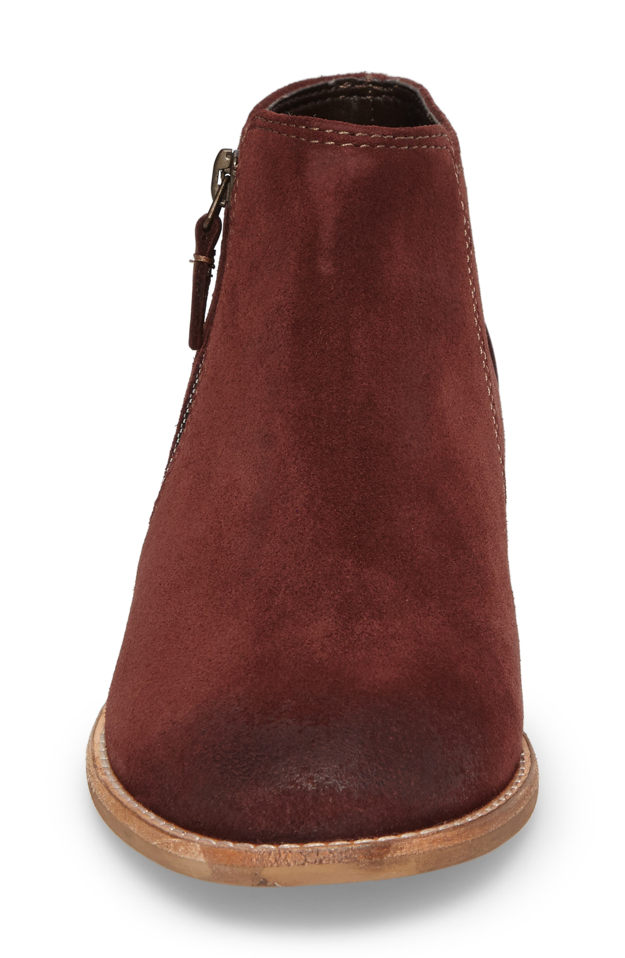 CLARKS<SUP>®</SUP>, Maypearl Juno Ankle Boot, Alternate thumbnail 4, color, MAHOGANY SUEDE
