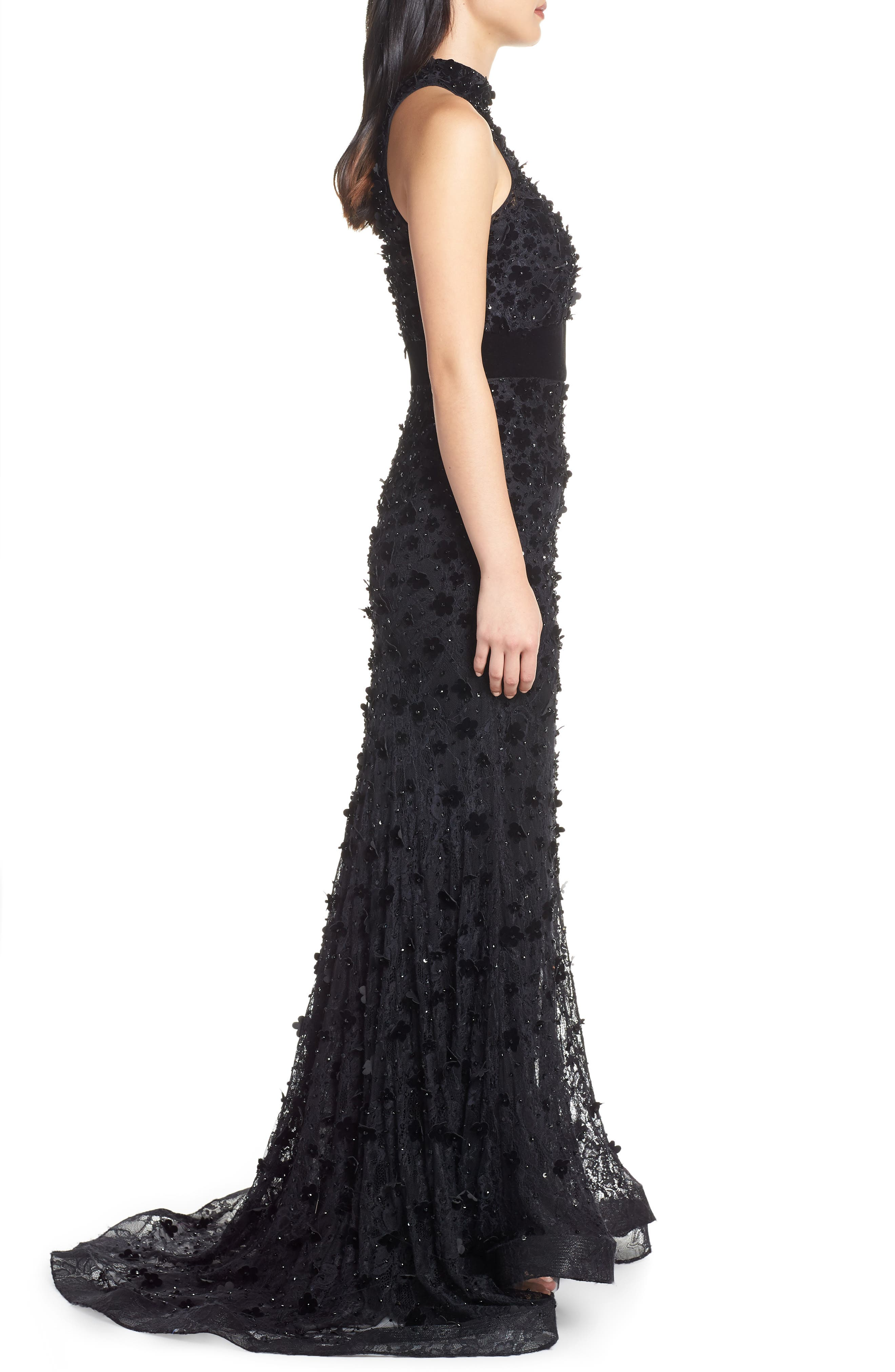 MAC DUGGAL, 3D Lace Evening Dress with Train, Alternate thumbnail 4, color, JET BLACK