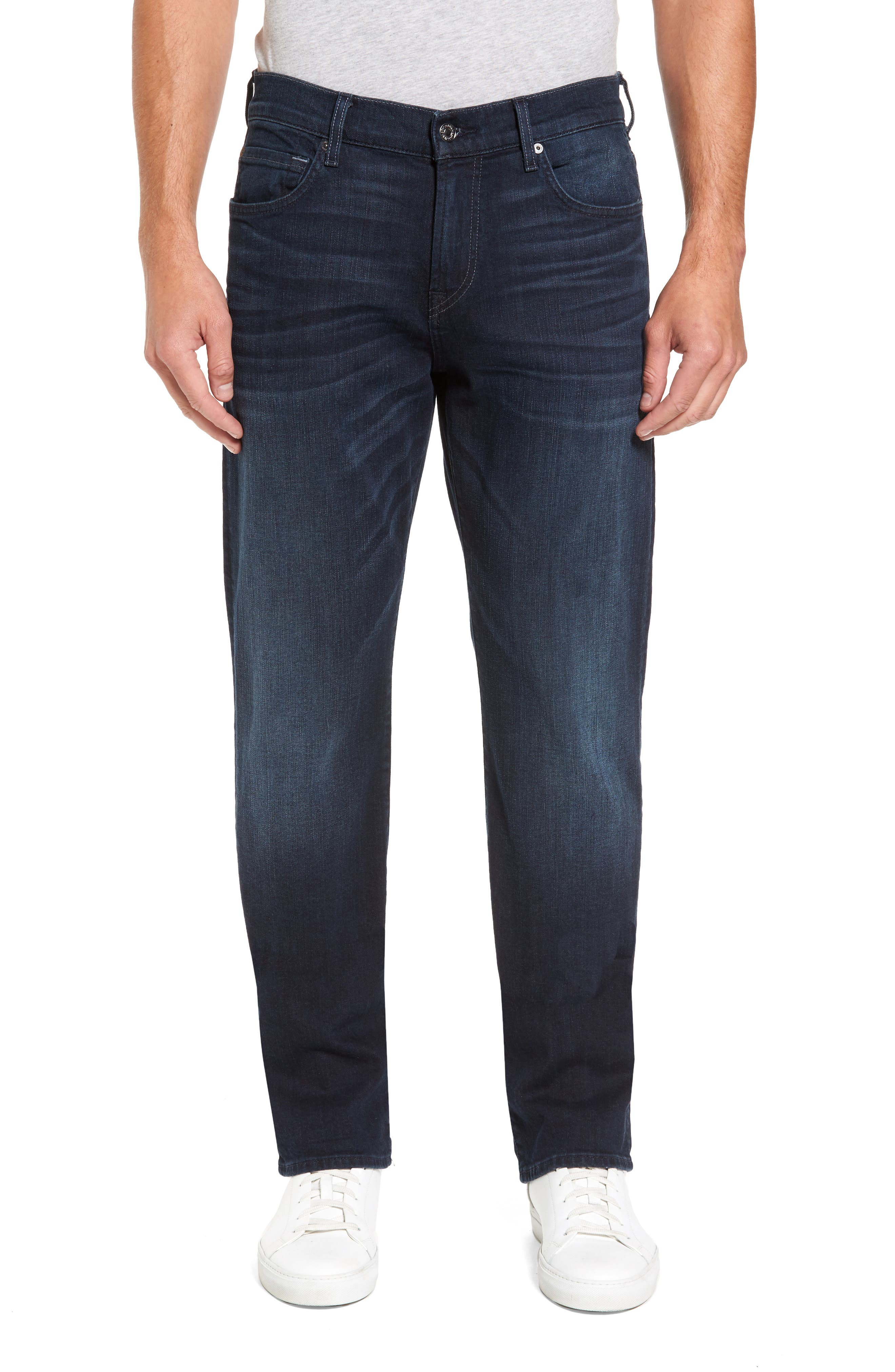 7 FOR ALL MANKIND<SUP>®</SUP>, Luxe Performance - Carsen Straight Leg Jeans, Main thumbnail 1, color, DARK CURRENT