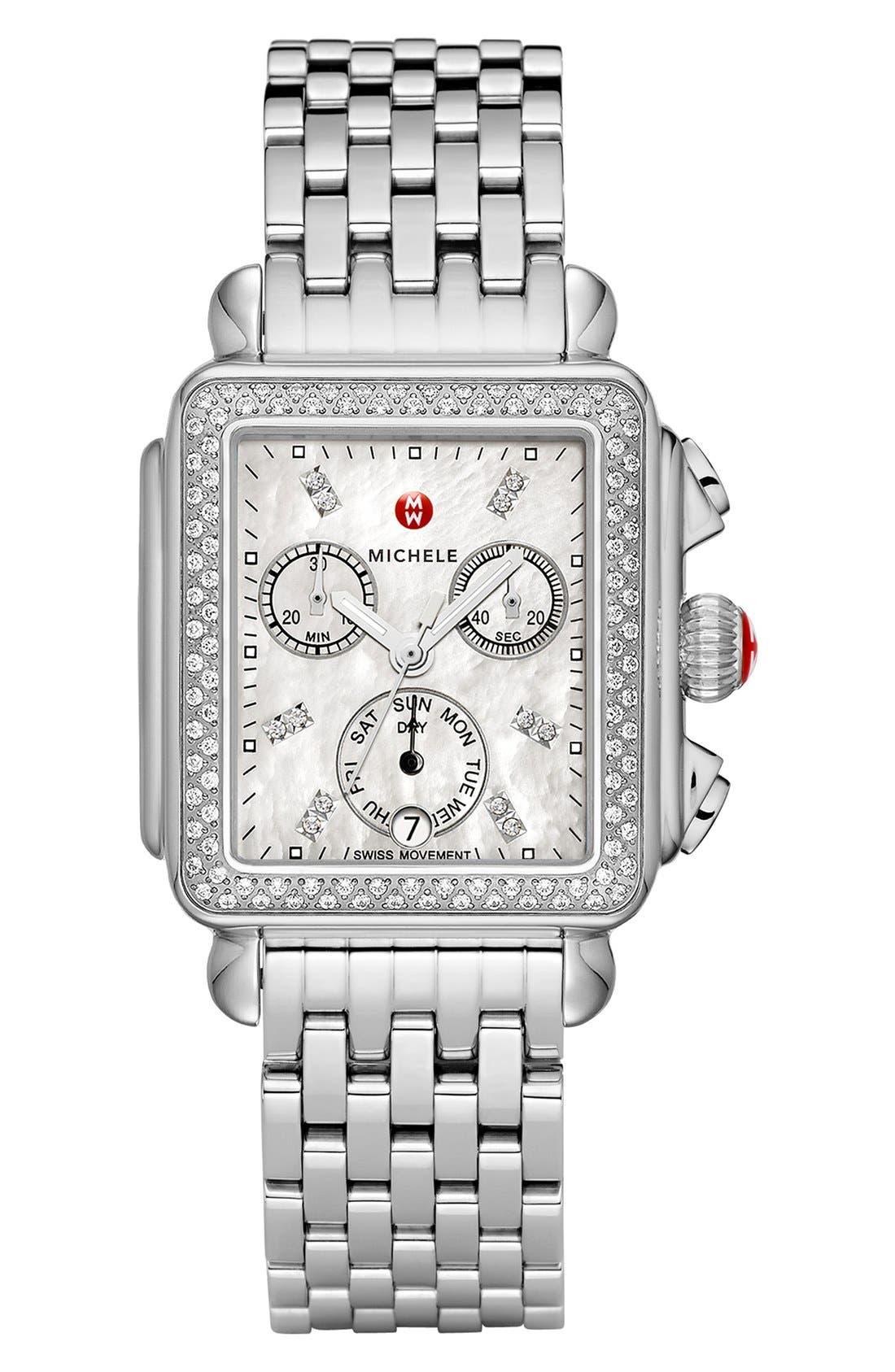 MICHELE, Deco 18mm Bracelet Watchband, Alternate thumbnail 3, color, SILVER
