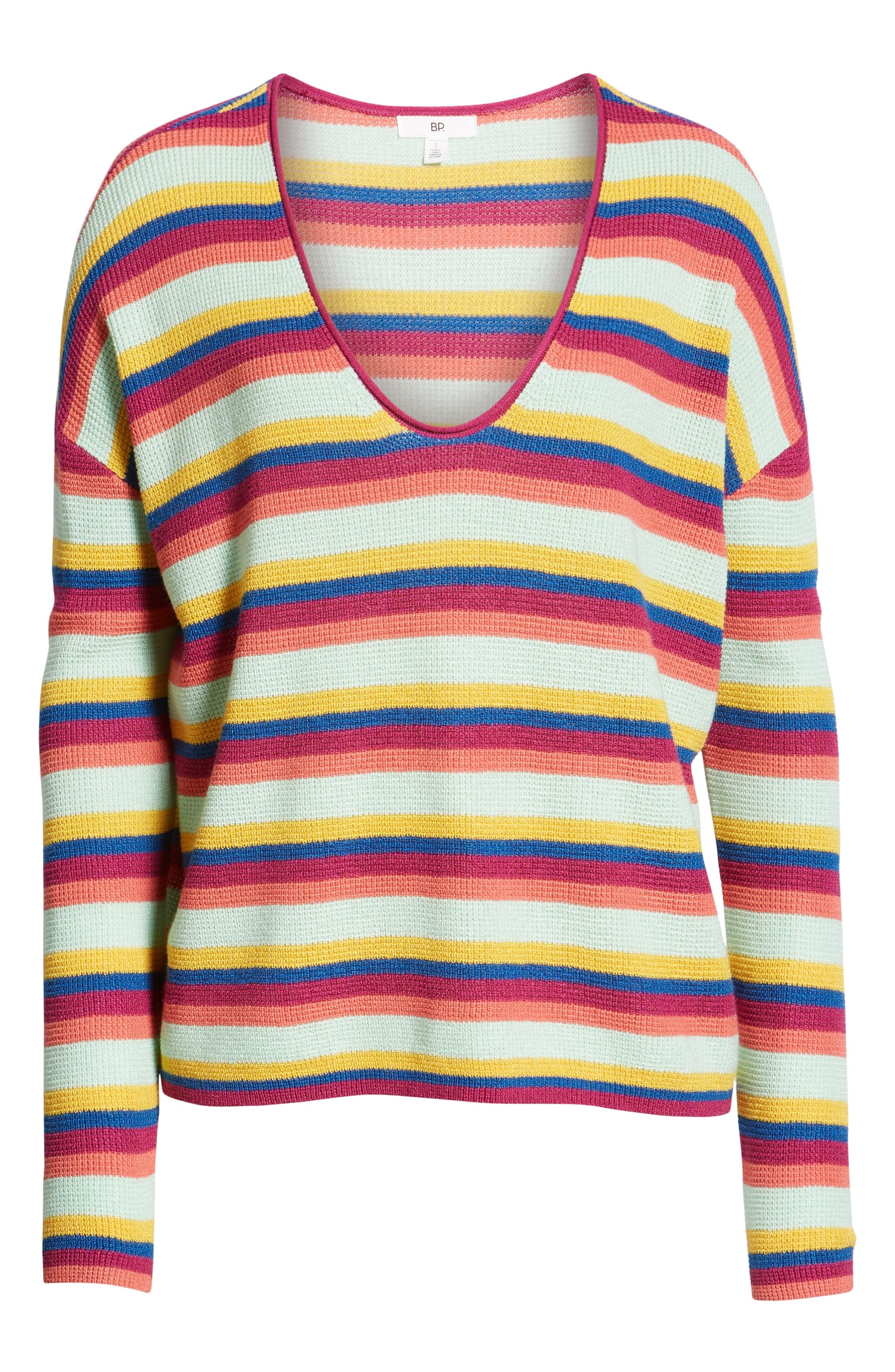 BP., Stripe Thermal Stitch Sweater, Alternate thumbnail 7, color, 660