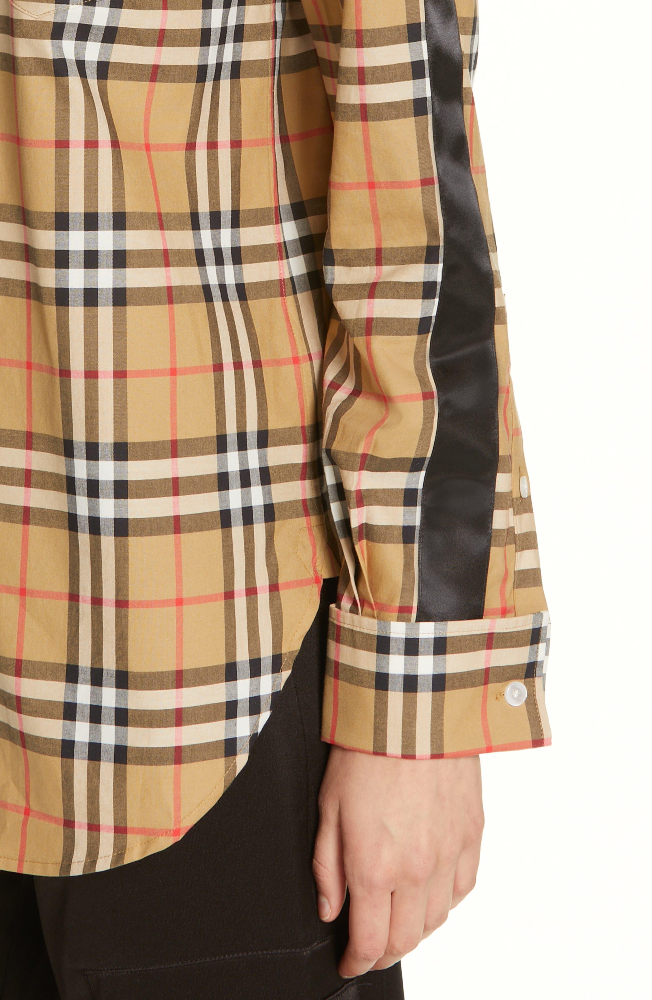 BURBERRY, Saoirse Vintage Check Cotton Shirt, Alternate thumbnail 5, color, ANTIQUE YELLOW CHECK