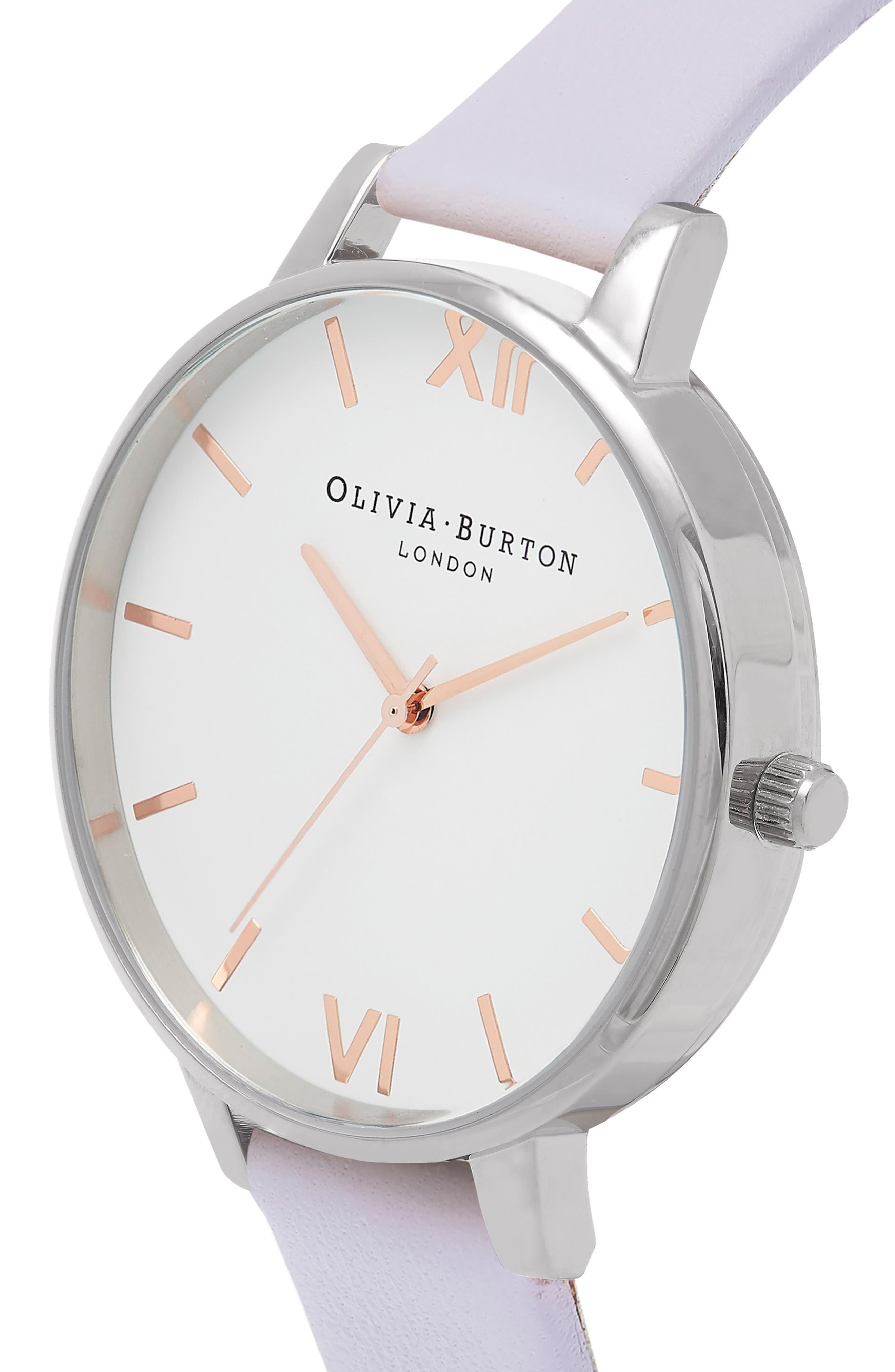 OLIVIA BURTON, White Dial Leather Strap Watch, 38mm, Alternate thumbnail 4, color, VIOLET/ WHITE/ SILVER