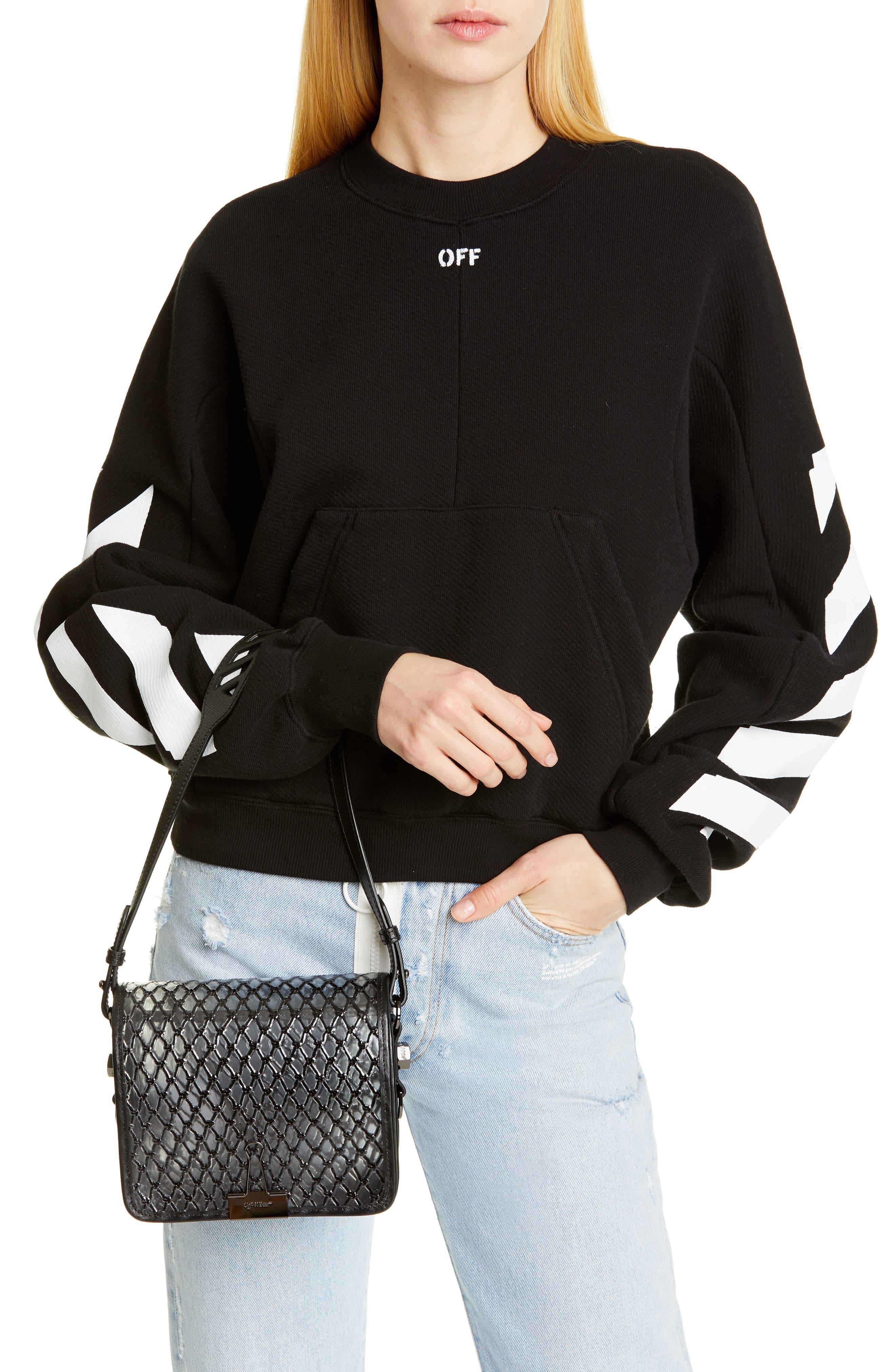 OFF-WHITE, Net PVC Flap Bag, Alternate thumbnail 3, color, BLACK