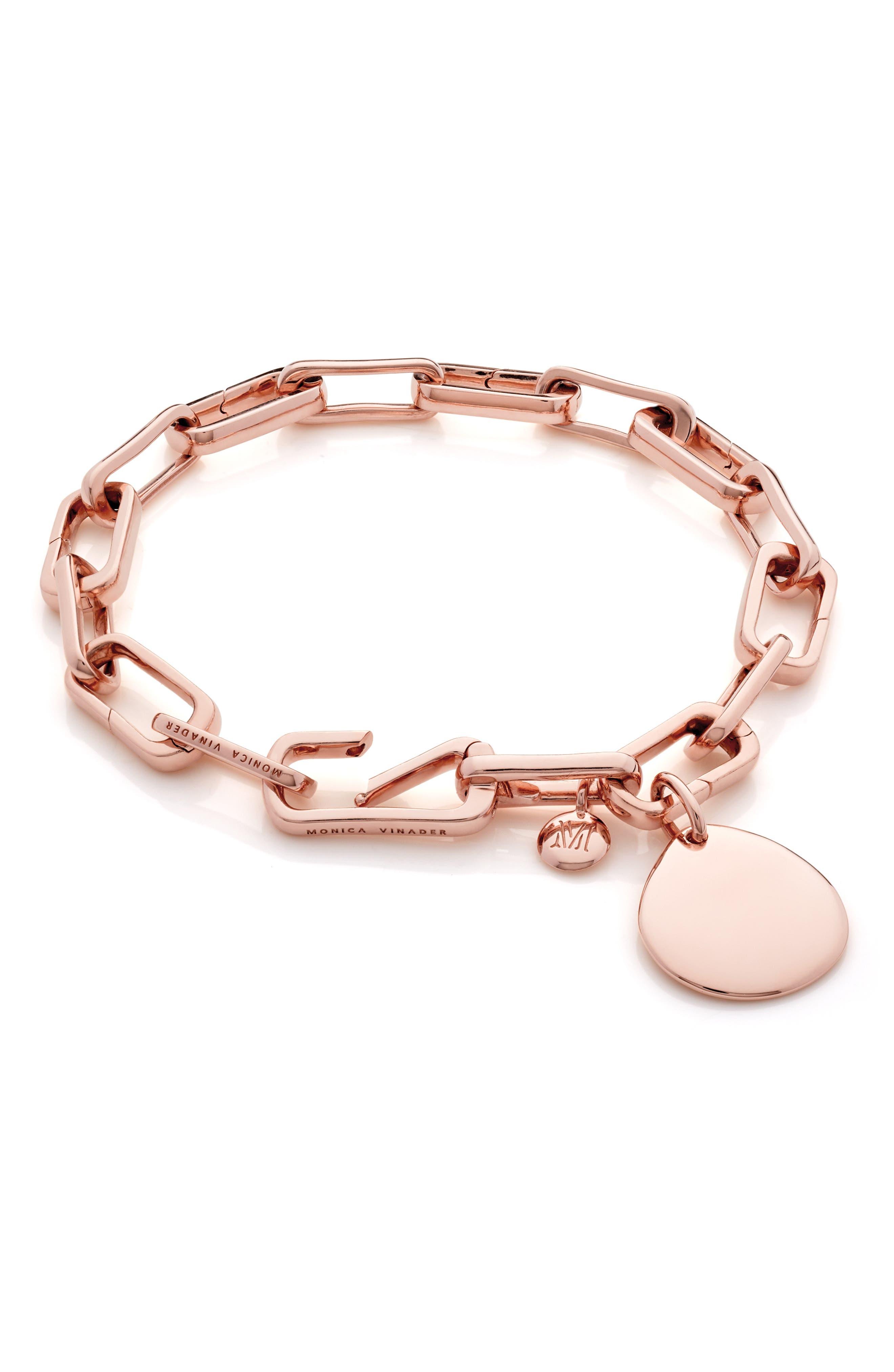 MONICA VINADER, Alta Capture Link Chain Bracelet, Alternate thumbnail 6, color, ROSE GOLD