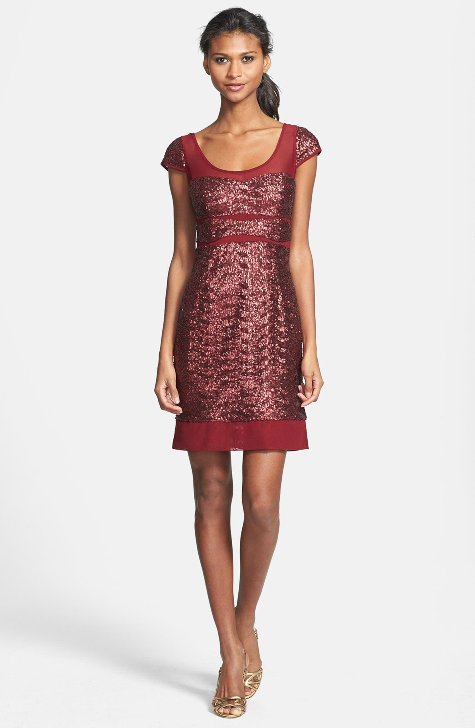 606b060d Betsey Johnson Sequin Panel Cap Sleeve Dress | Nordstrom