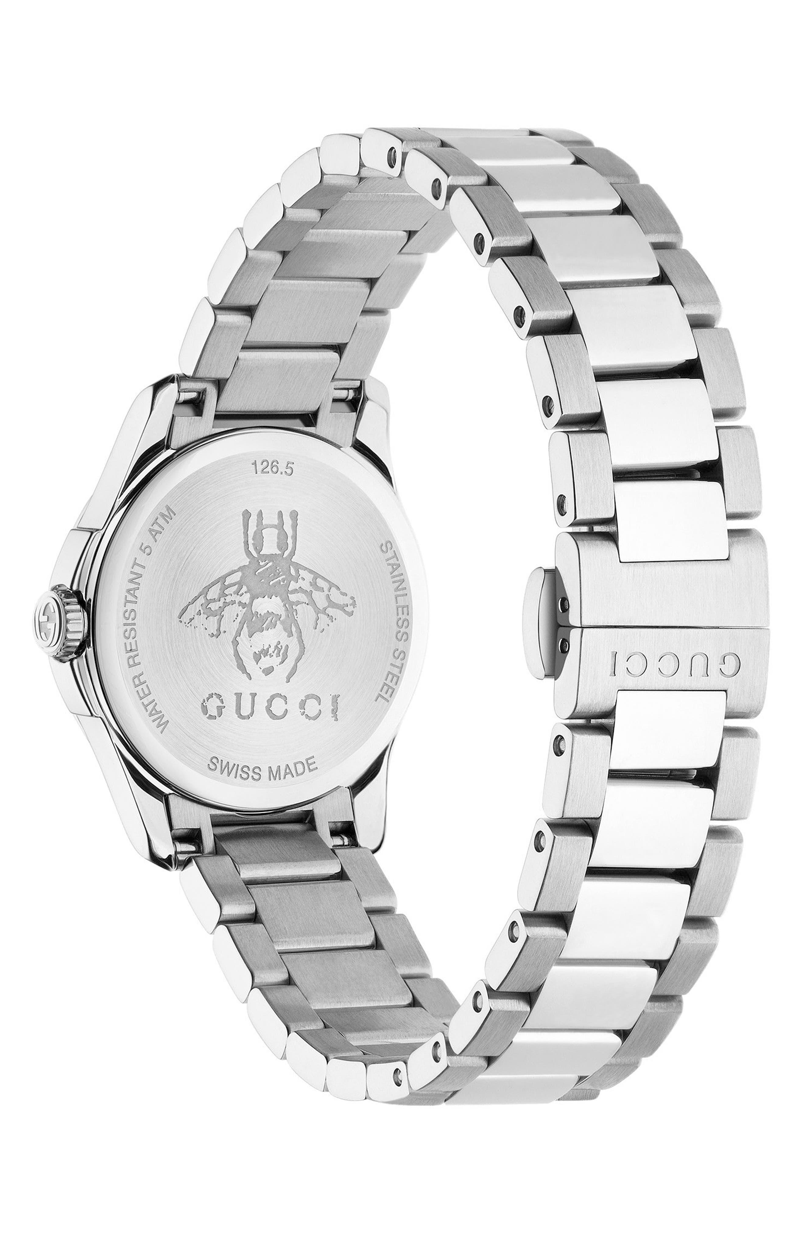 GUCCI, G-Timeless Bracelet Watch, 27mm, Alternate thumbnail 2, color, SILVER