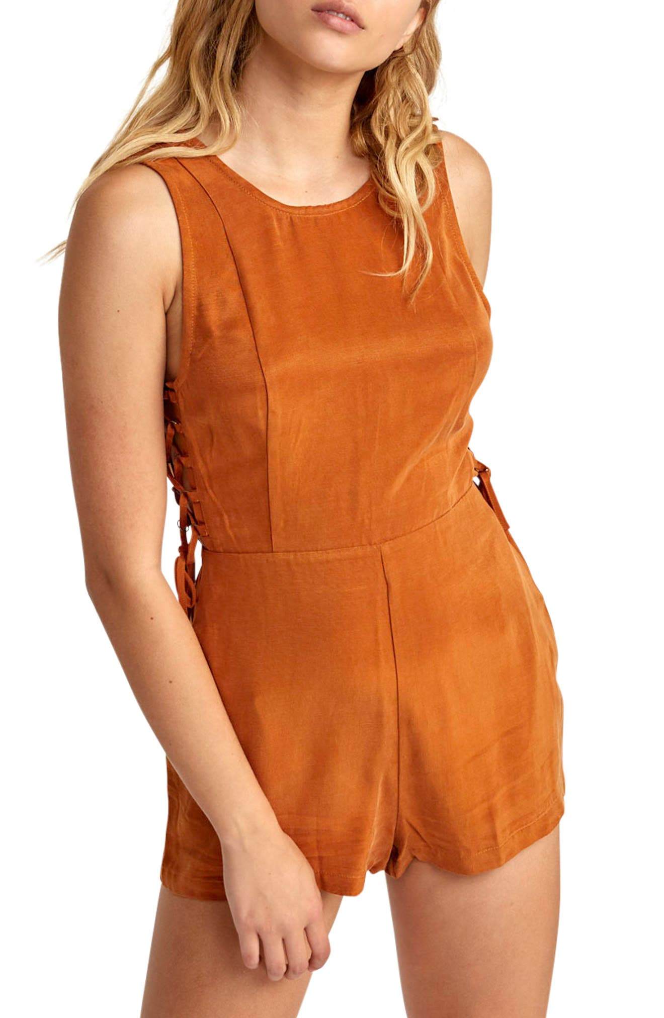 RVCA, Freddie Lace-Up Romper, Alternate thumbnail 8, color, GINGER