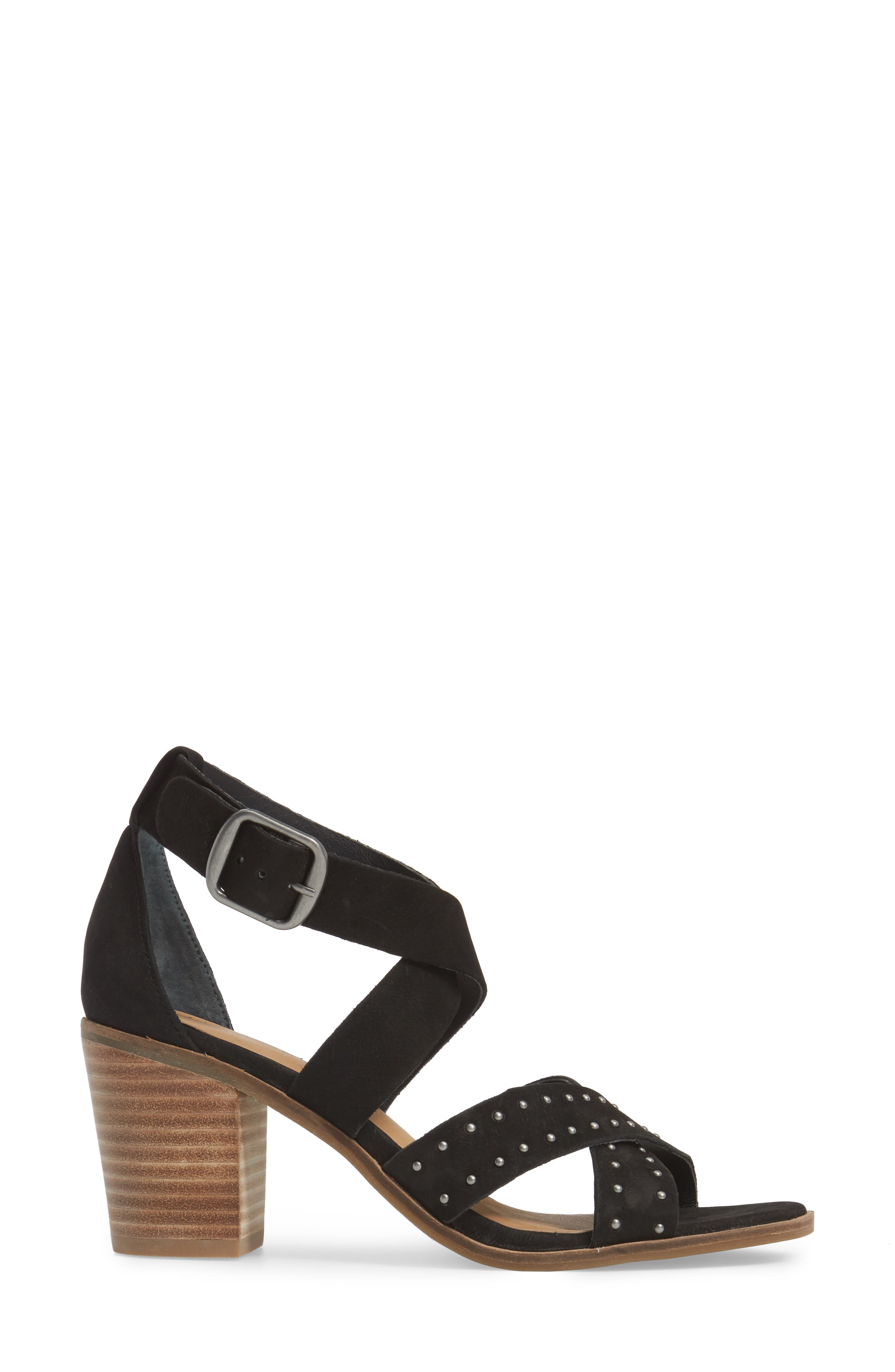 LUCKY BRAND, Kesey Block Heel Sandal, Alternate thumbnail 3, color, 001