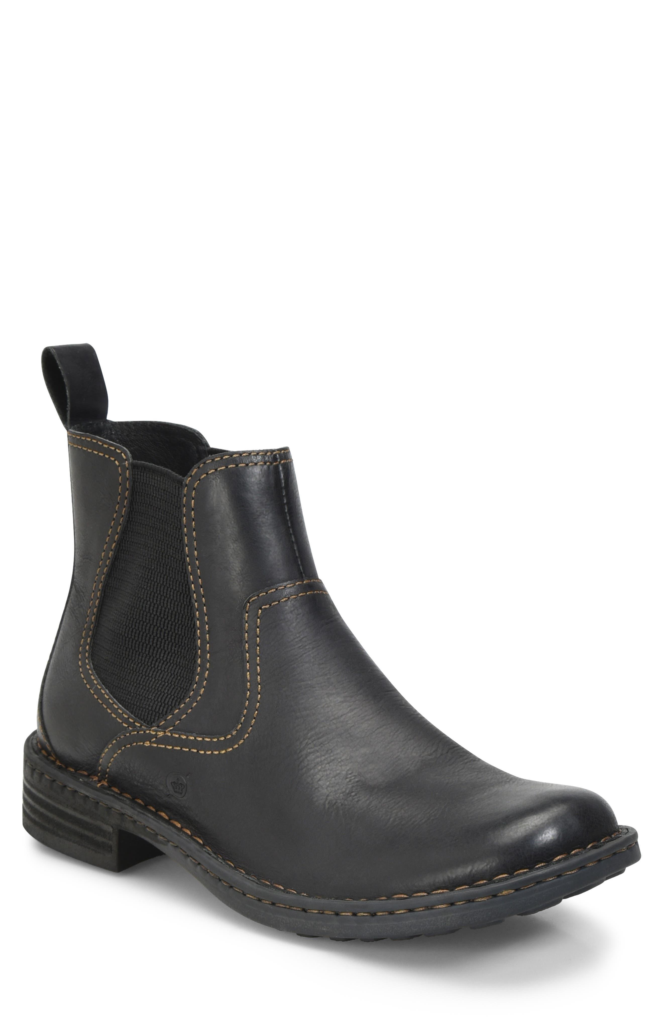 BØRN 'Hemlock' Boot, Main, color, BLACK LEATHER