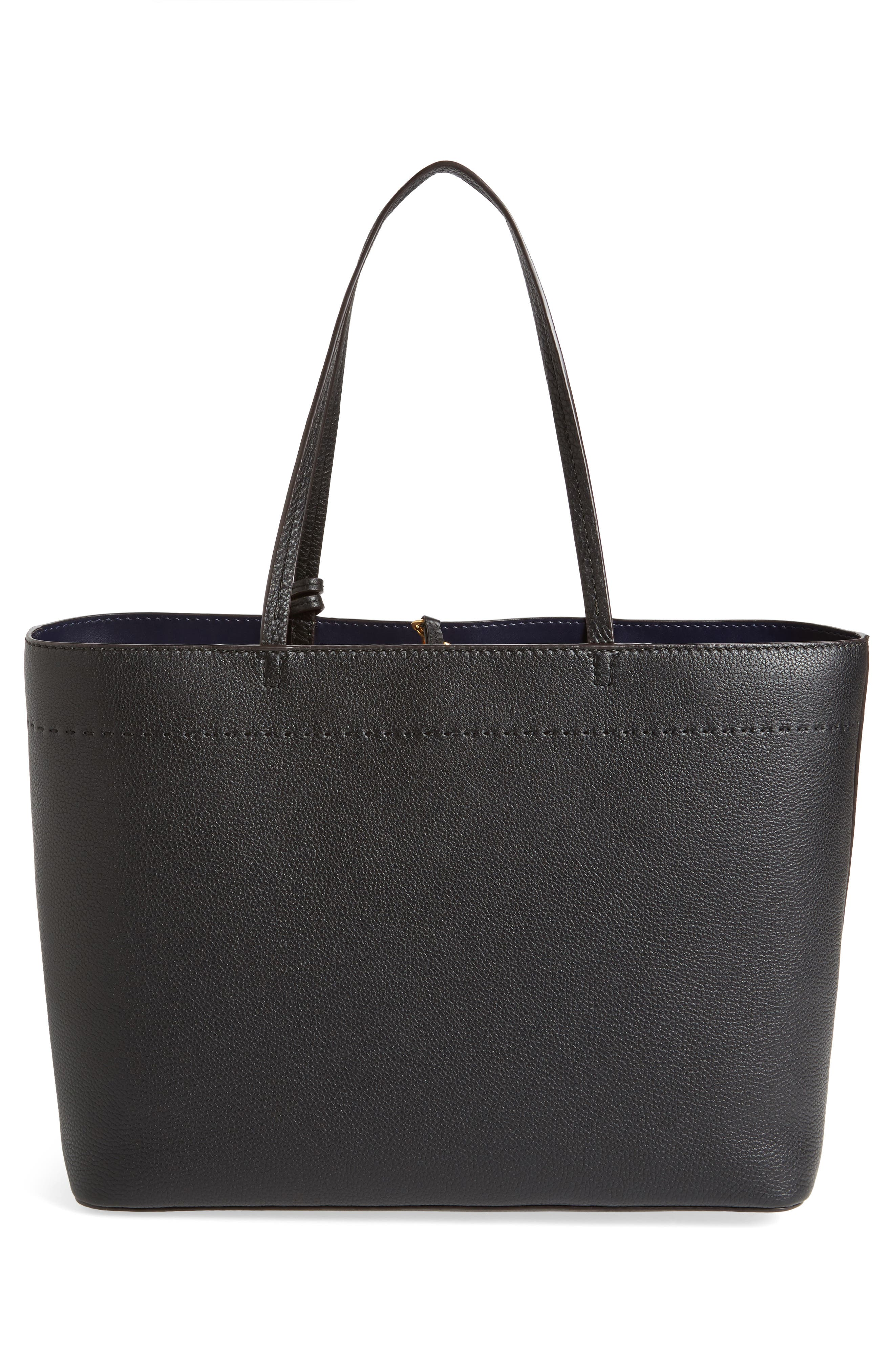 TORY BURCH, McGraw Leather Laptop Tote, Alternate thumbnail 4, color, BLACK/ ROYAL NAVY
