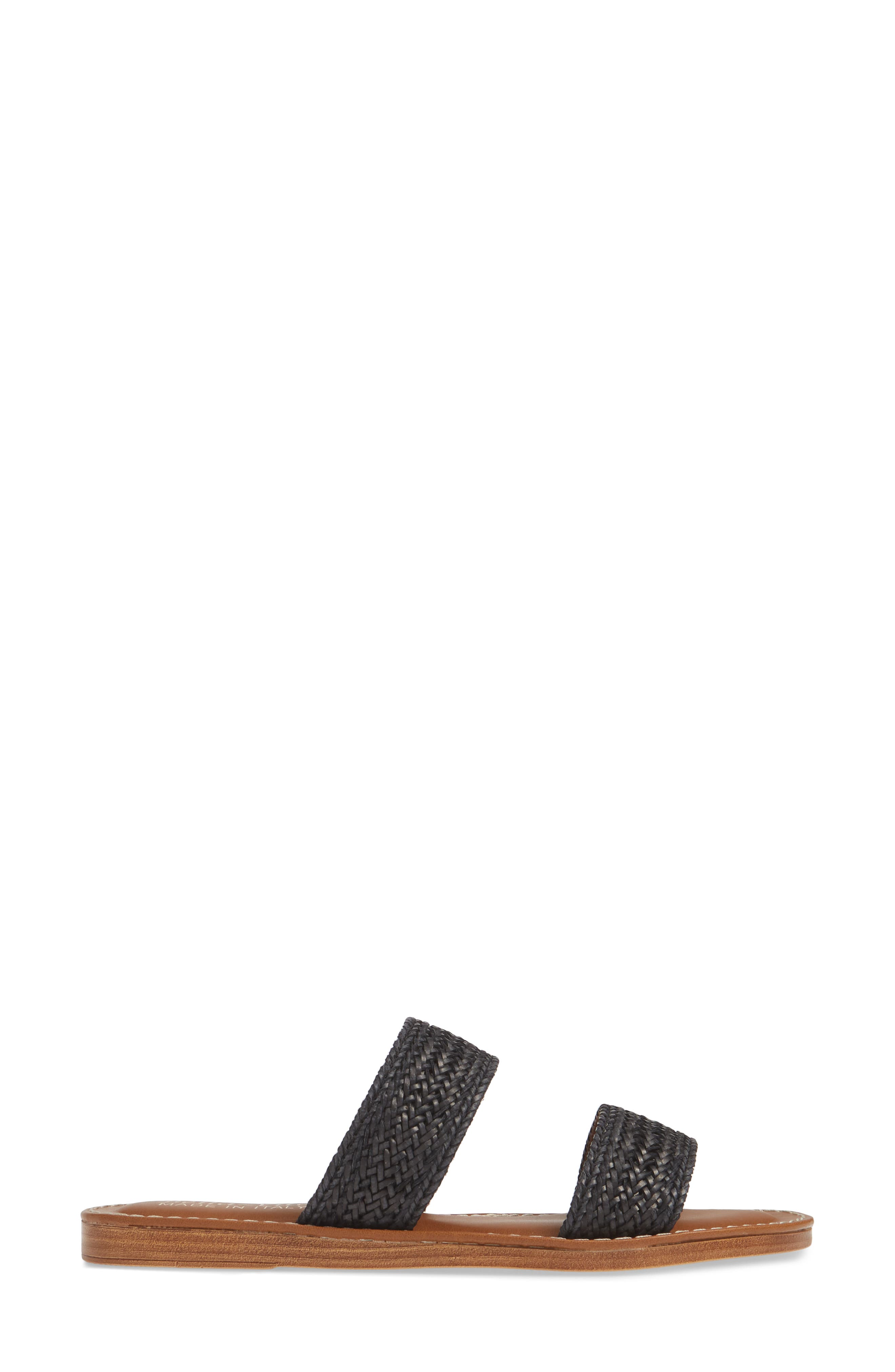 BELLA VITA, Two-Strap Slide Sandal, Alternate thumbnail 3, color, BLACK WOVEN
