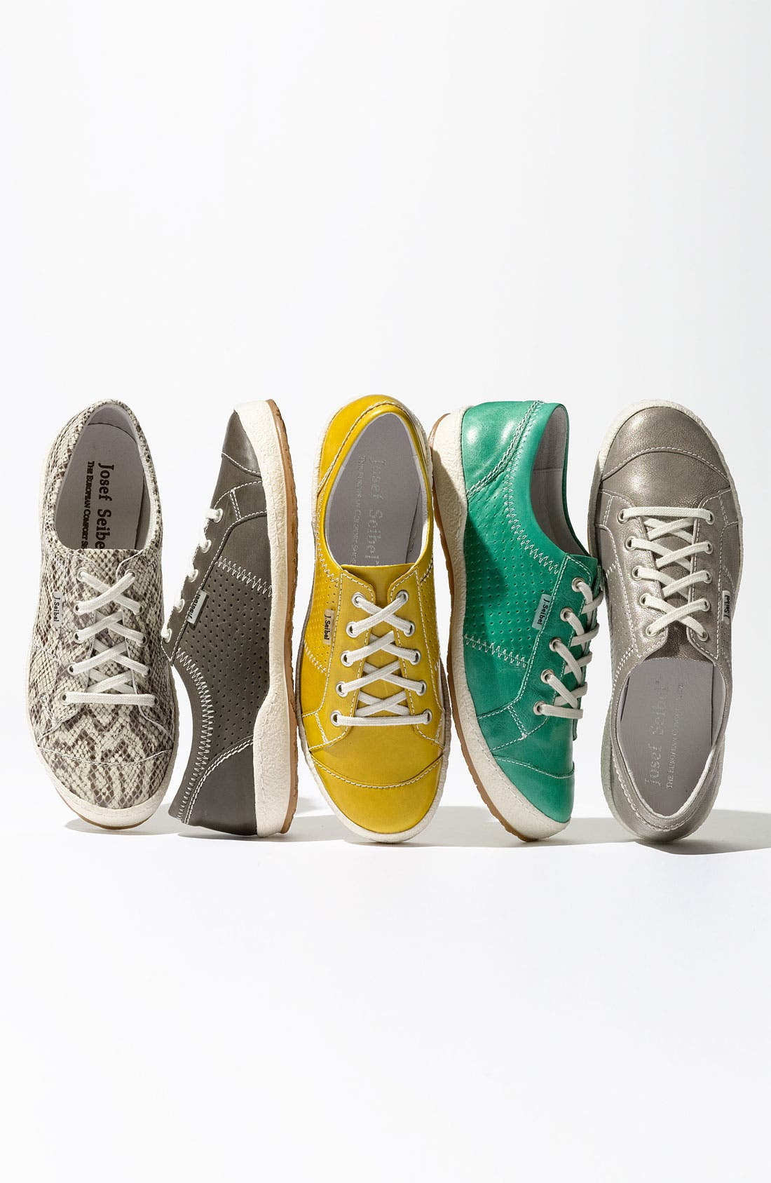 JOSEF SEIBEL, 'Caspian' Sneaker, Alternate thumbnail 6, color, PLATINUM METALLIC LEATHER