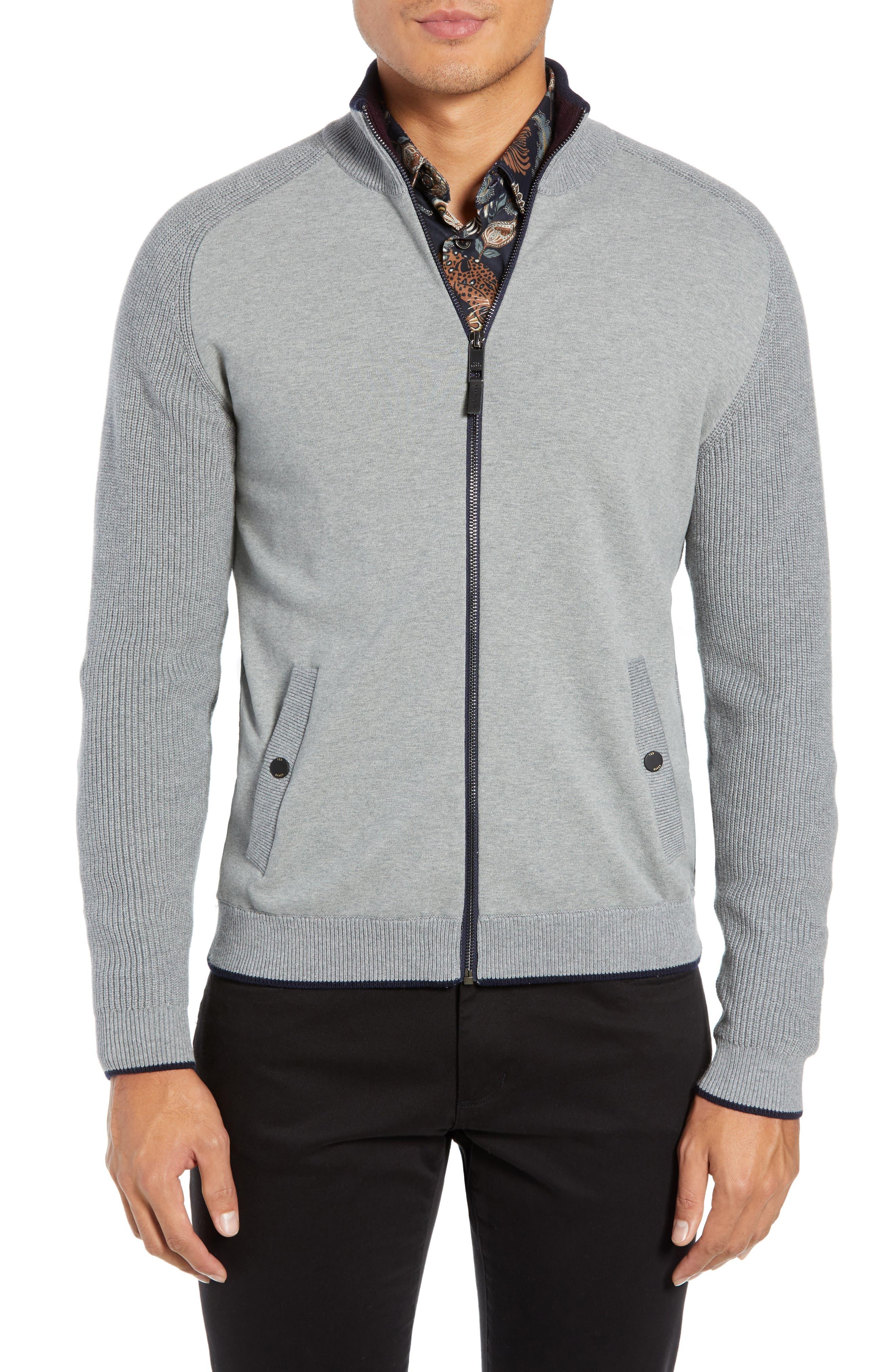 TED BAKER LONDON Patrik Slim Fit Zip Sweater, Main, color, 031