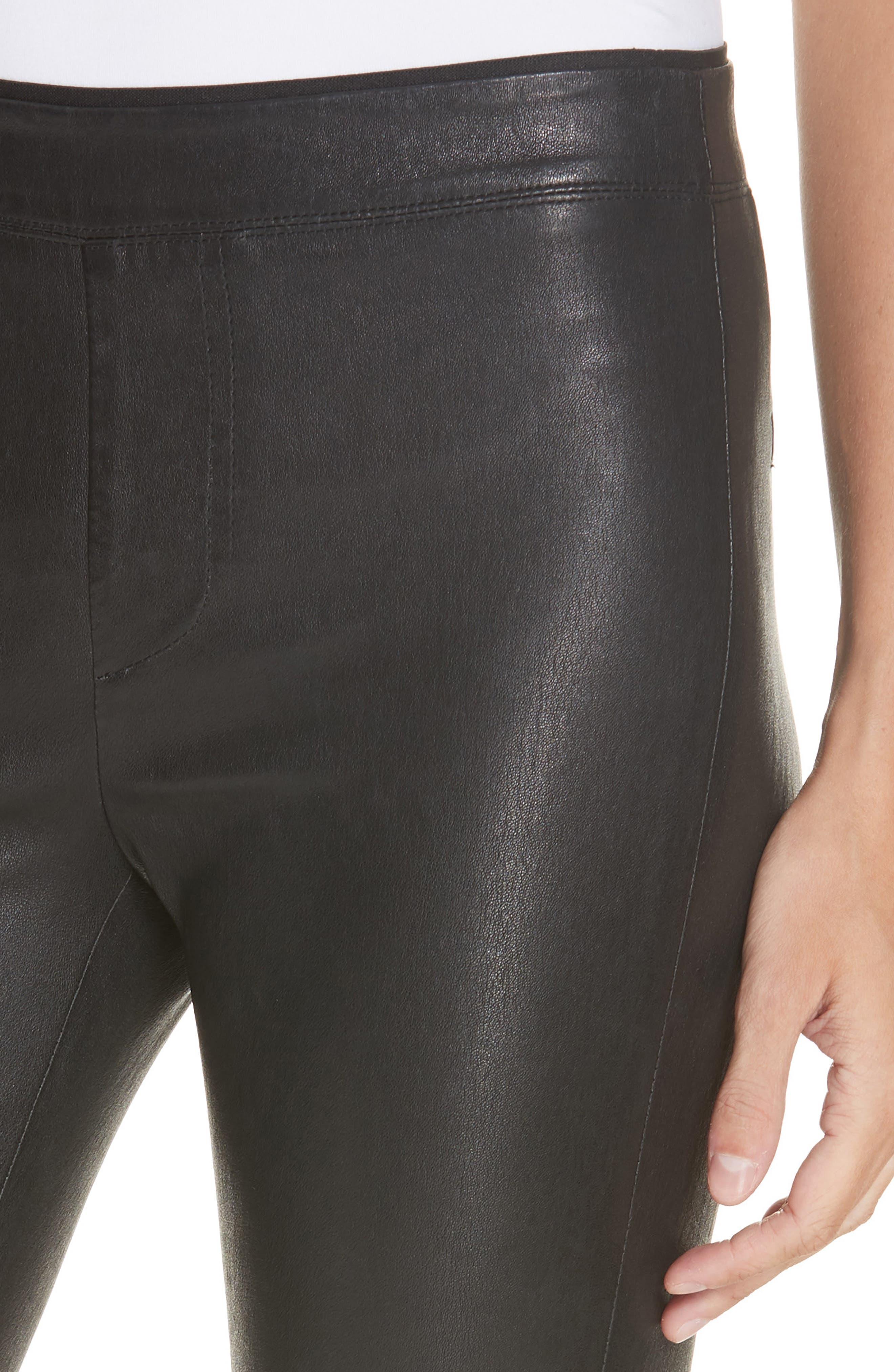 HELMUT LANG, Stretch Lambskin Leather Leggings, Alternate thumbnail 5, color, BLACK