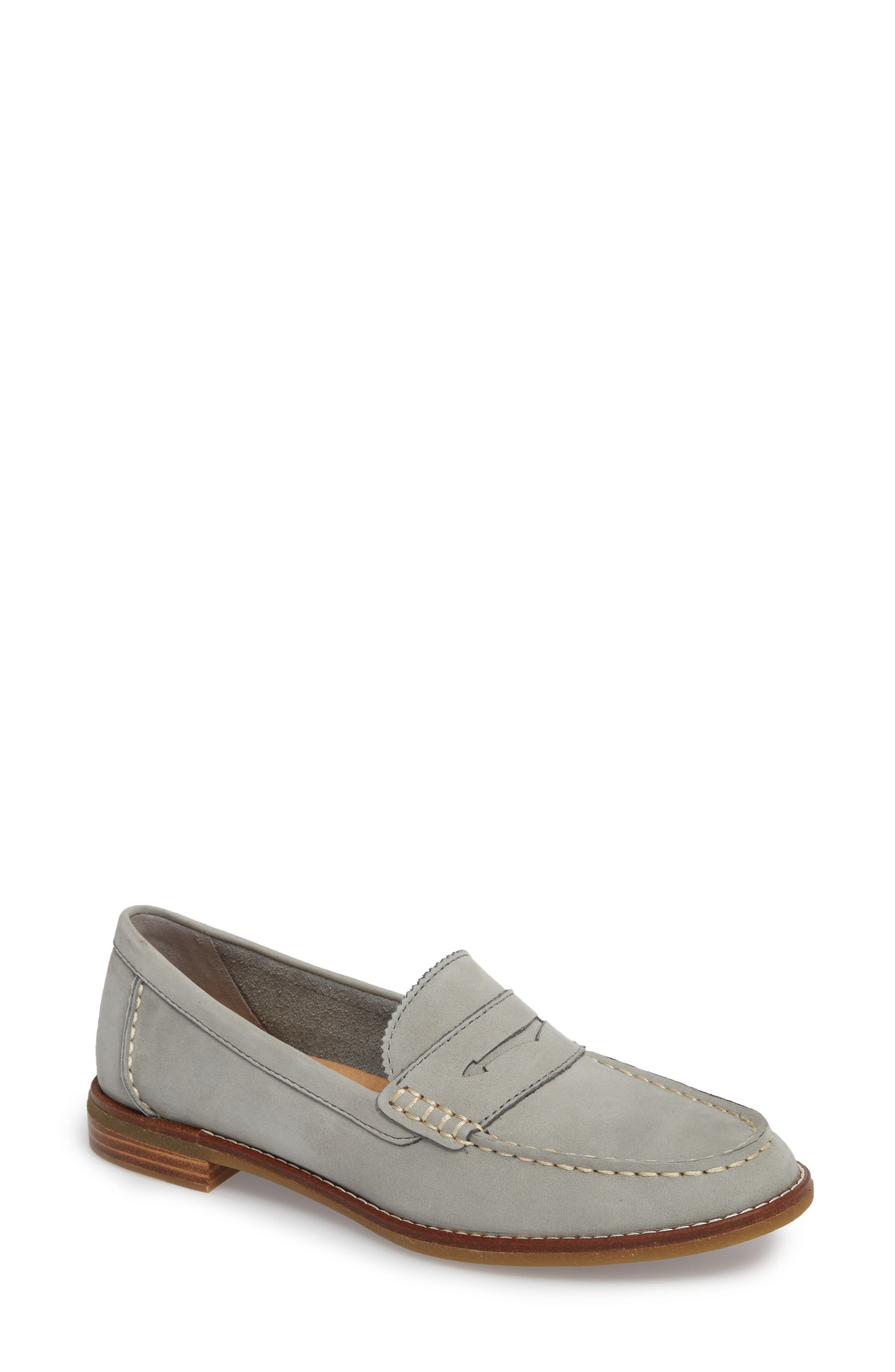 SPERRY, Seaport Penny Loafer, Main thumbnail 1, color, GREY LEATHER