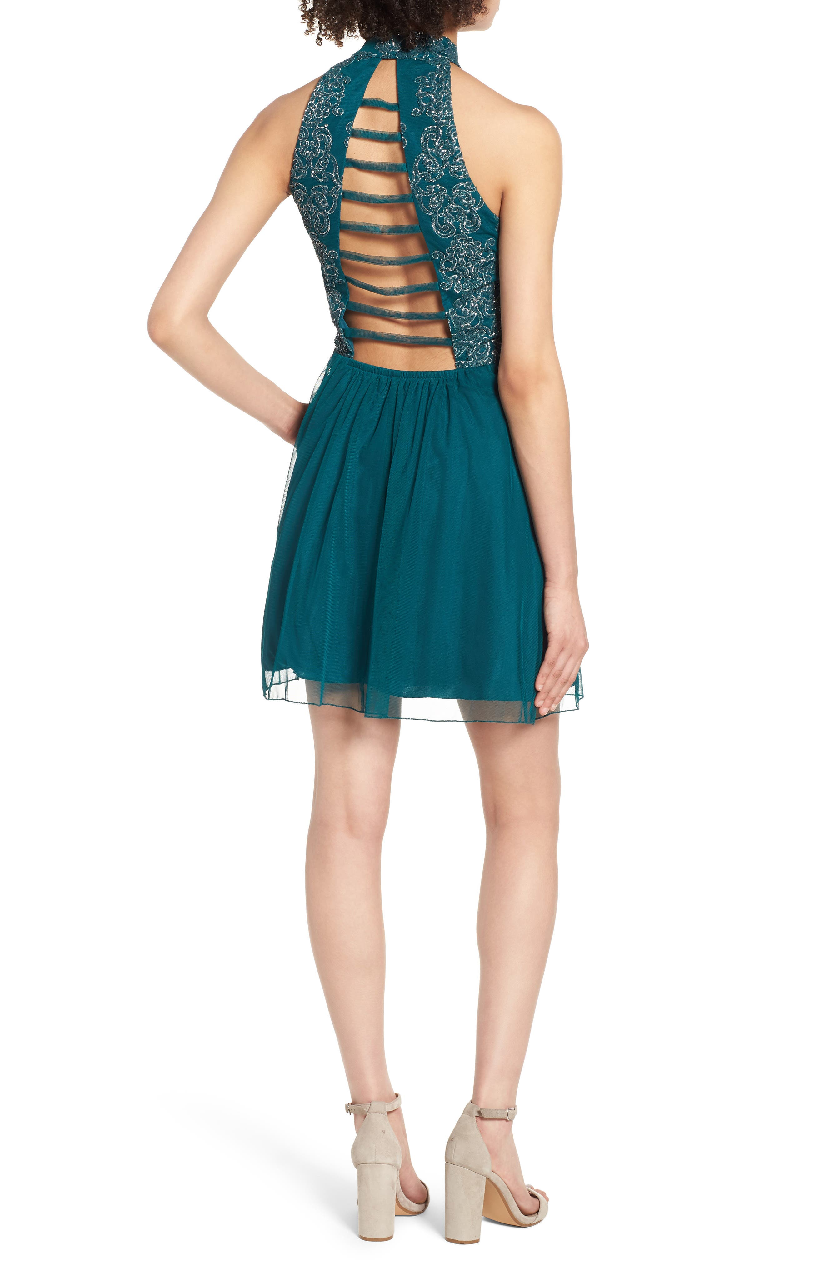 SPEECHLESS, Lace Fit & Flare Dress, Alternate thumbnail 2, color, EMERALD