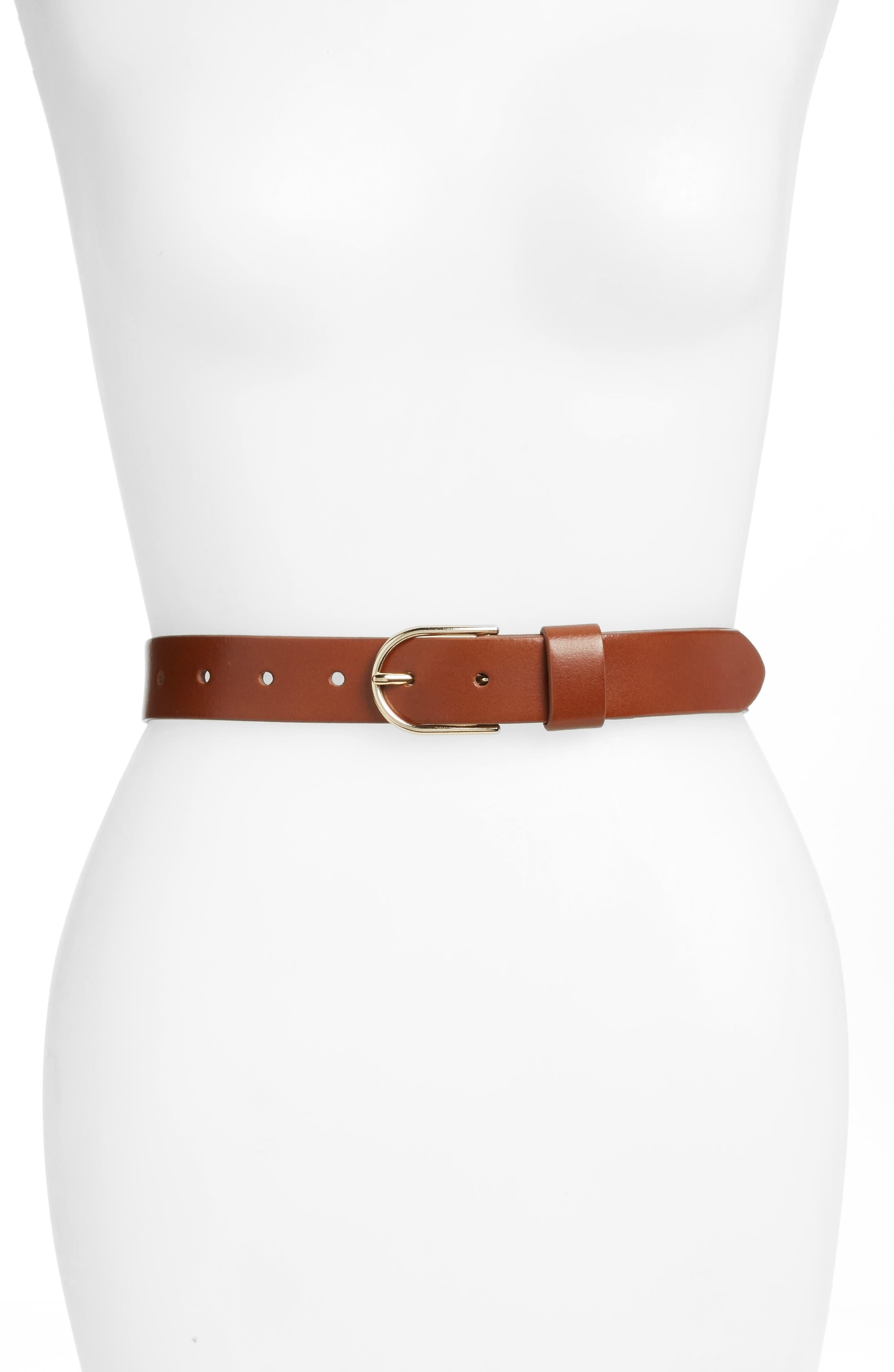 HALOGEN<SUP>®</SUP>, Tailored Trouser Leather Belt, Main thumbnail 1, color, COGNAC