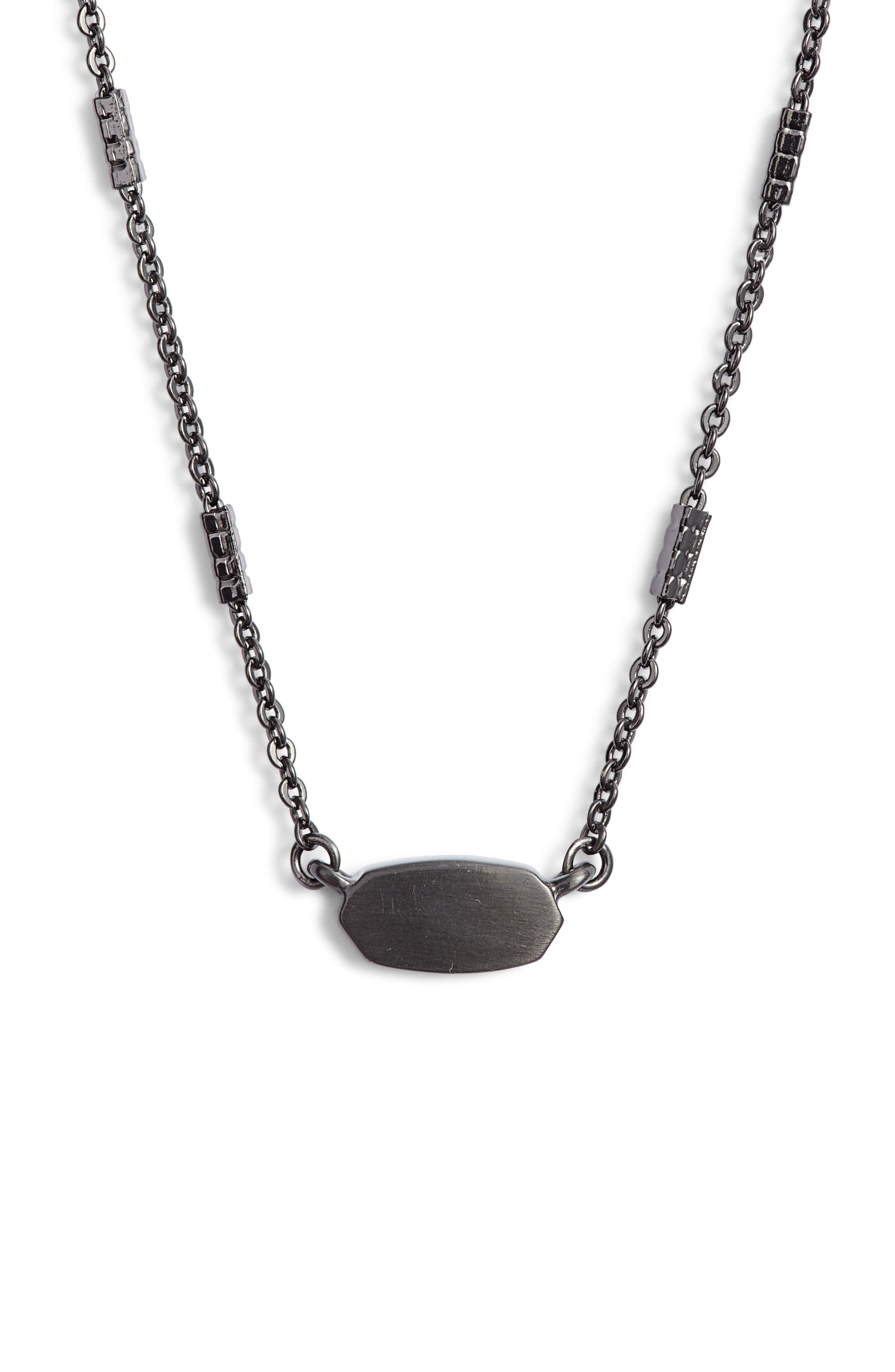 KENDRA SCOTT Fern Pendant Necklace, Main, color, GUNMETAL