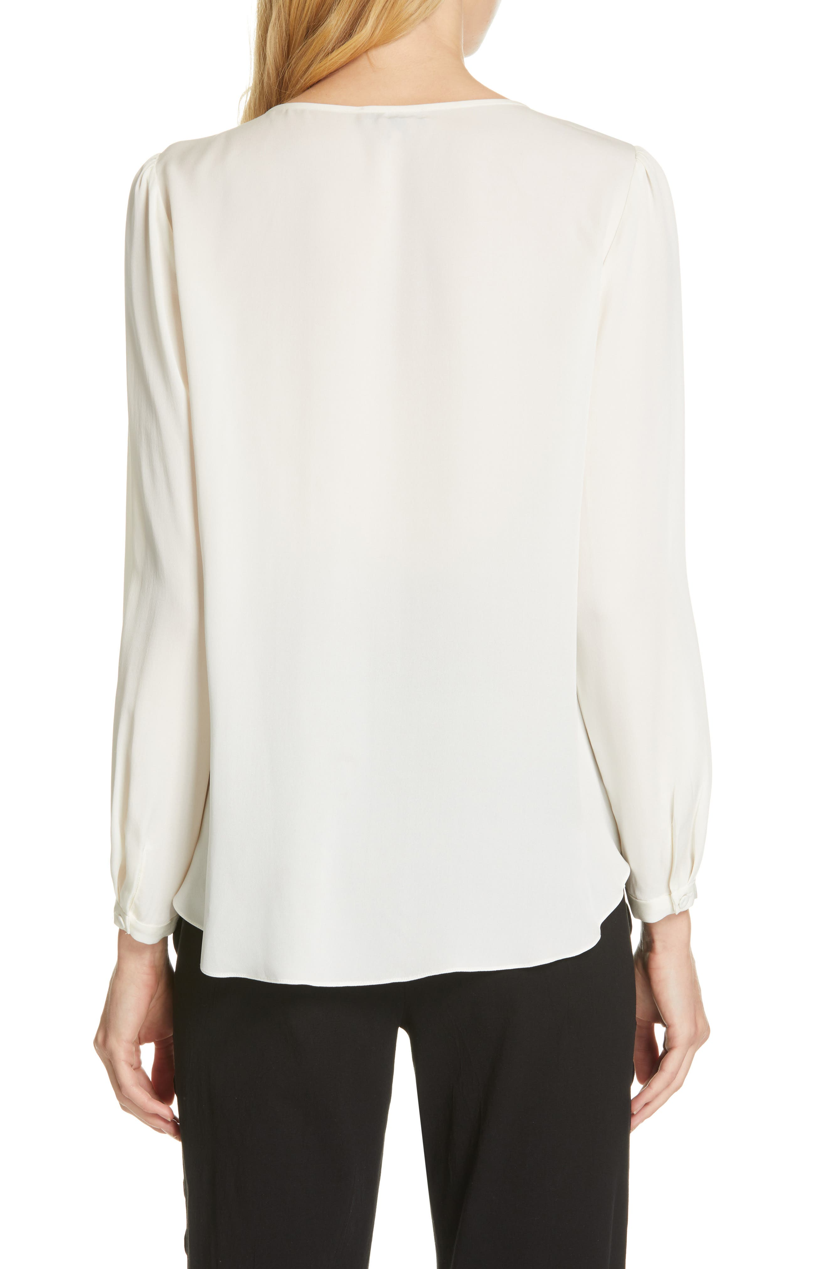 TAILORED BY REBECCA TAYLOR, Silk Georgette Top, Alternate thumbnail 2, color, SNOW