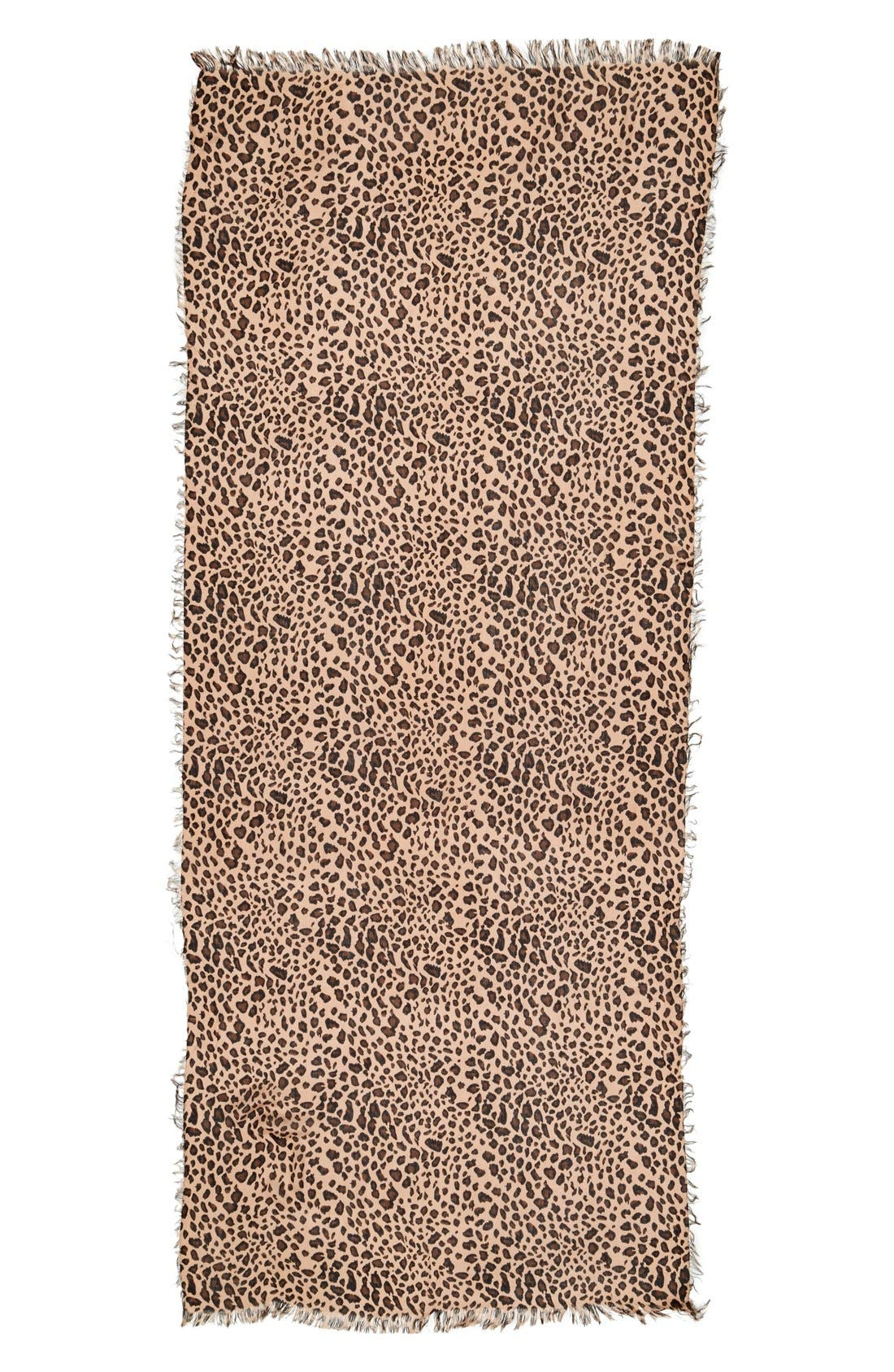 SOLE SOCIETY, Leopard Print Scarf, Alternate thumbnail 2, color, BROWN