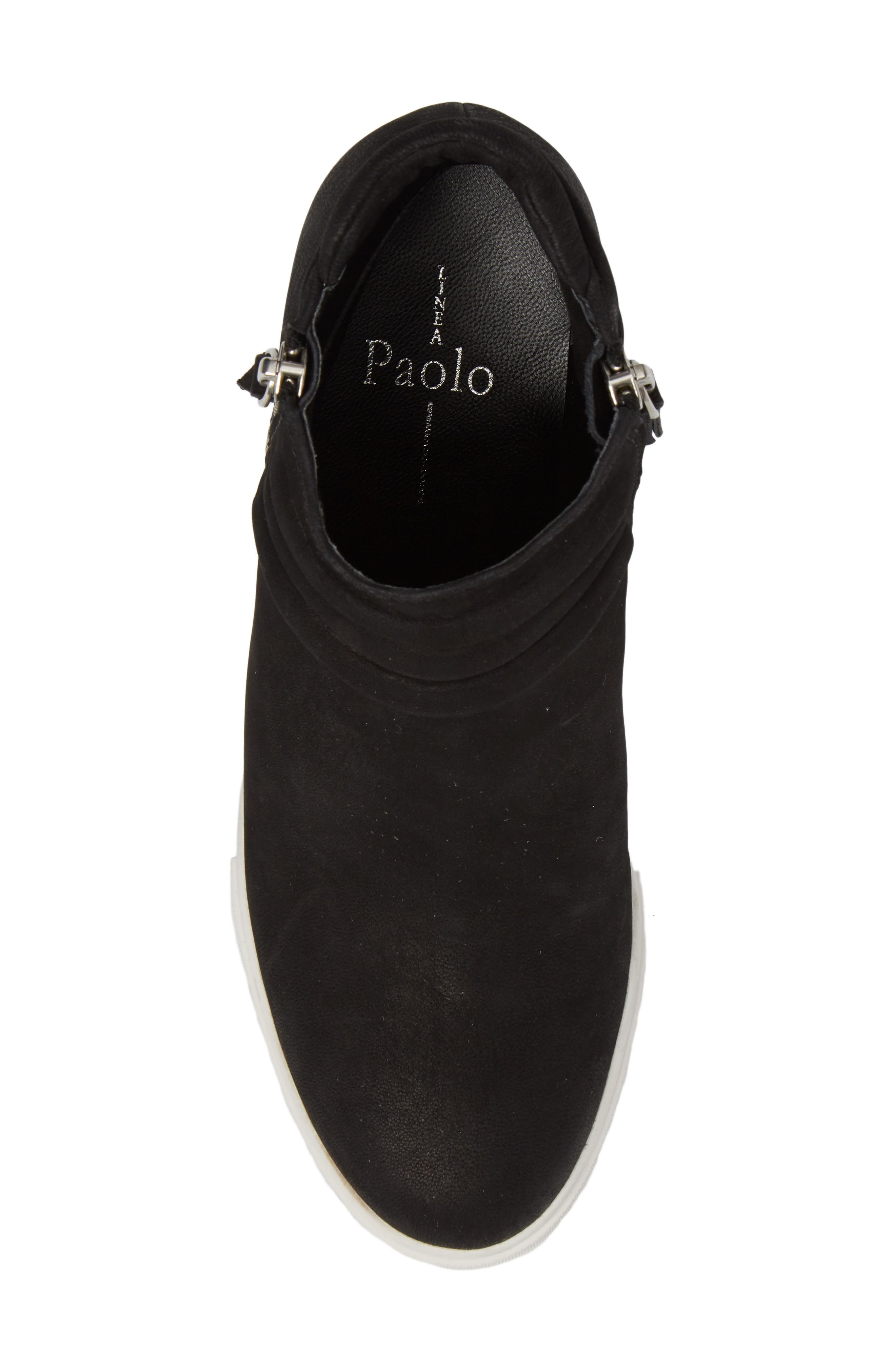 LINEA PAOLO, Frieda Wedge Bootie, Alternate thumbnail 5, color, BLACK LEATHER
