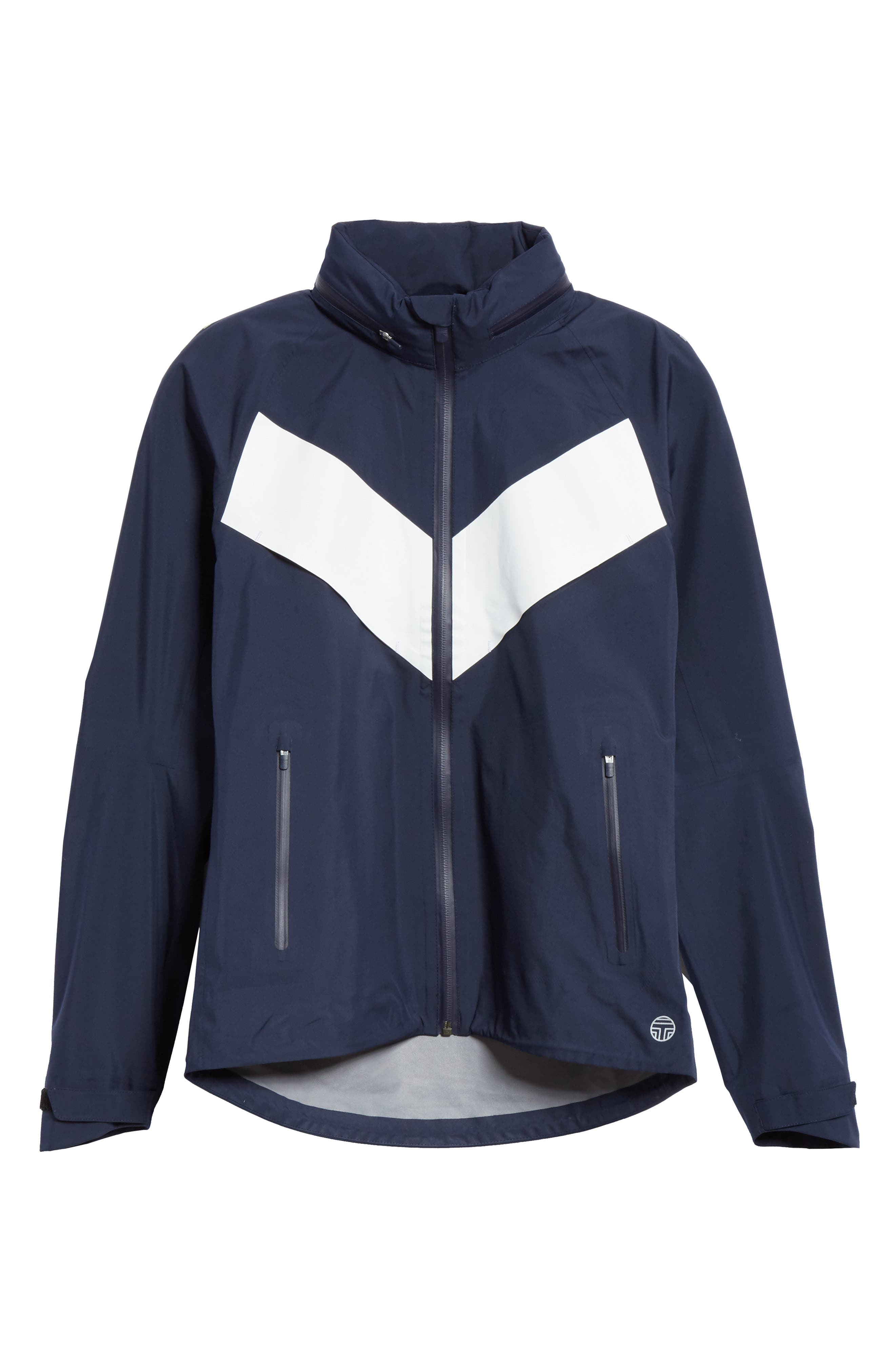 TORY SPORT, All Weather Run Jacket, Alternate thumbnail 6, color, TORY NAVY/ WHITE SNOW