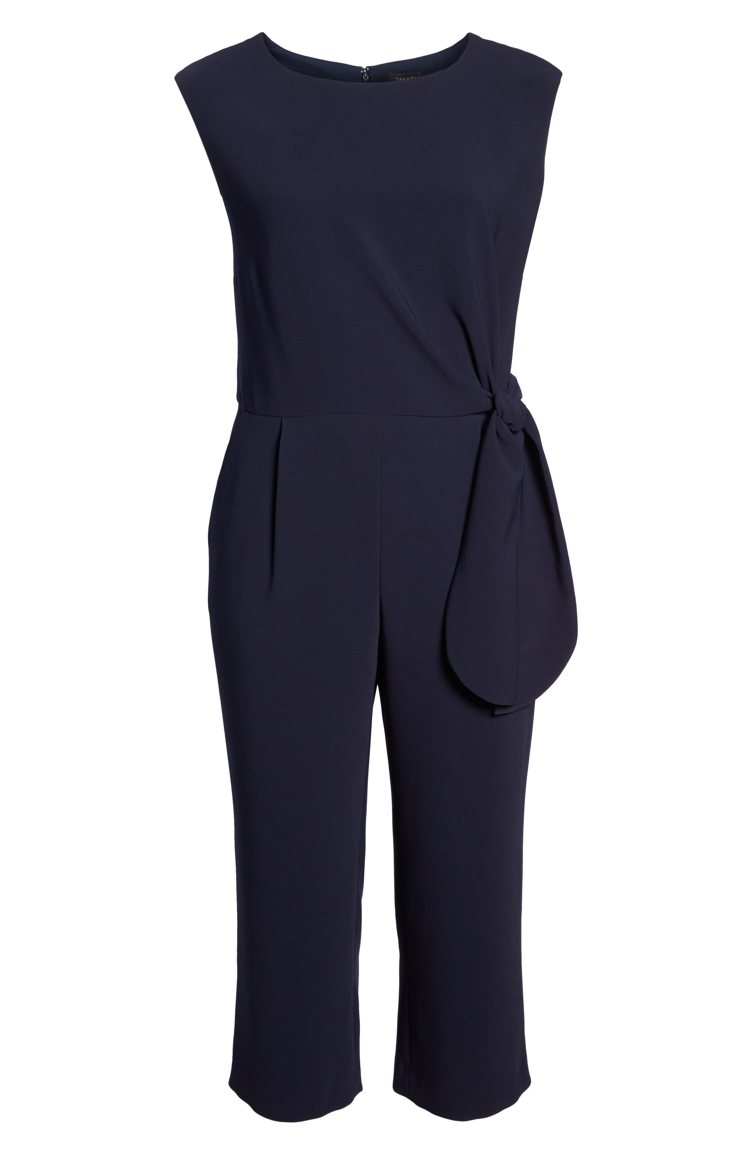 TAHARI, Tie Waist Crop Crepe Jumpsuit, Alternate thumbnail 6, color, NAVY