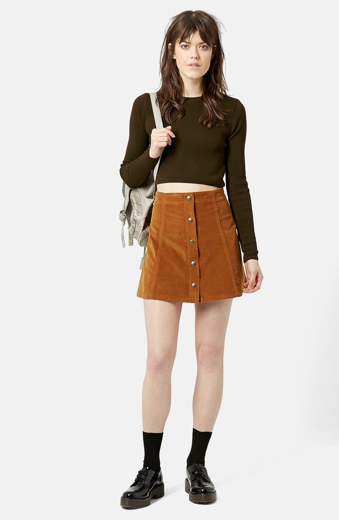 TOPSHOP, A-Line Corduroy Skirt, Alternate thumbnail 3, color, 210