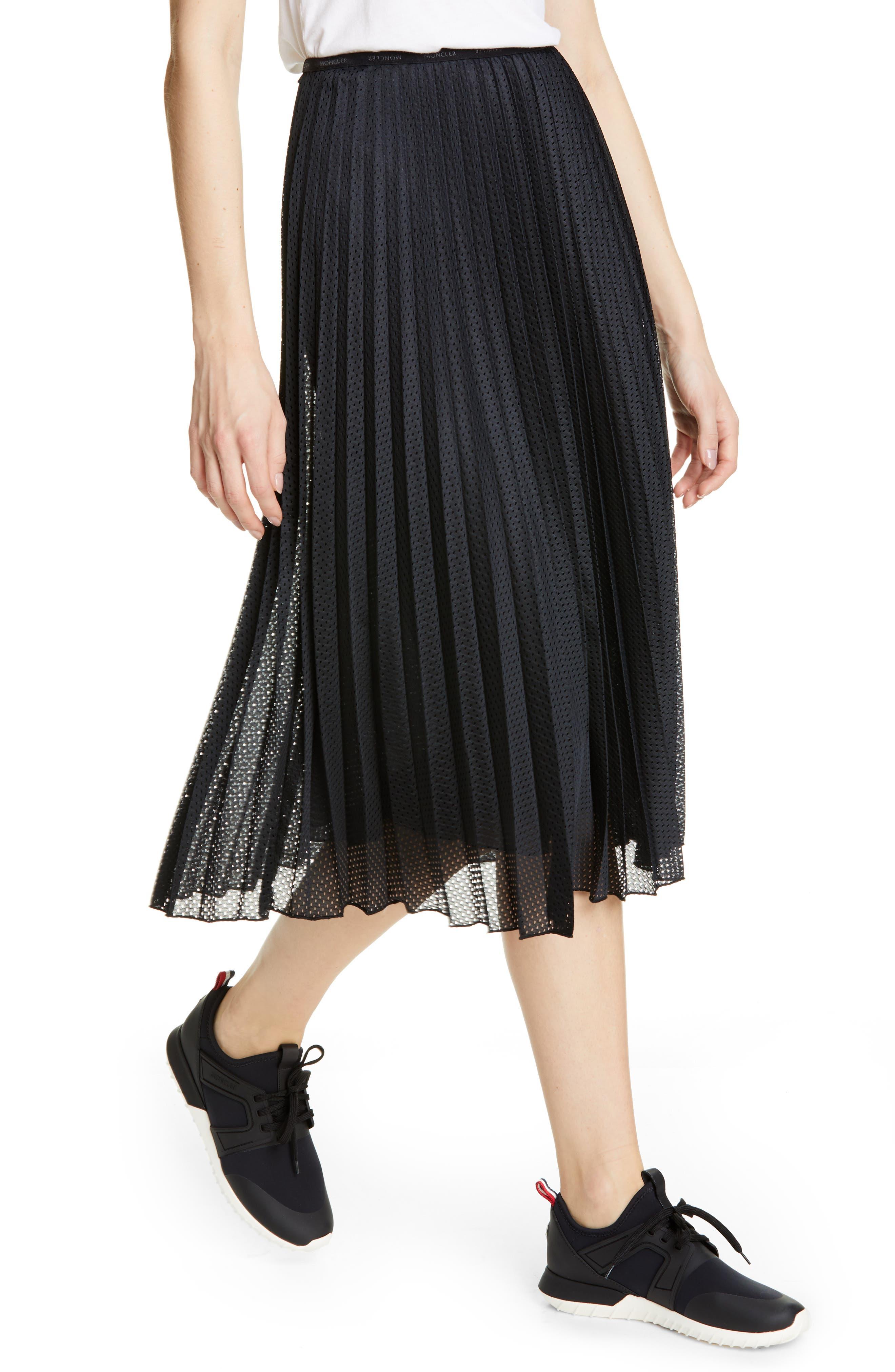 MONCLER, Pleated Mesh Skirt, Alternate thumbnail 4, color, 001