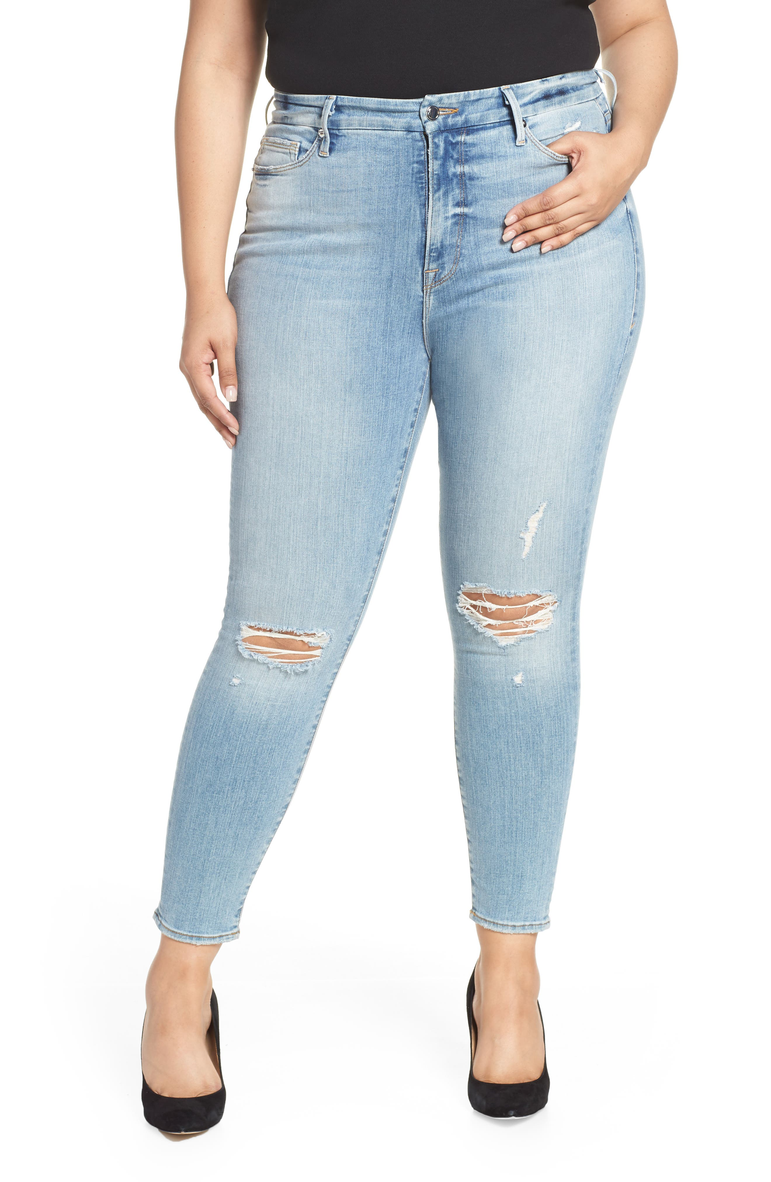 GOOD AMERICAN, Good Legs Ripped Crop Skinny Jeans, Alternate thumbnail 2, color, BLUE 199
