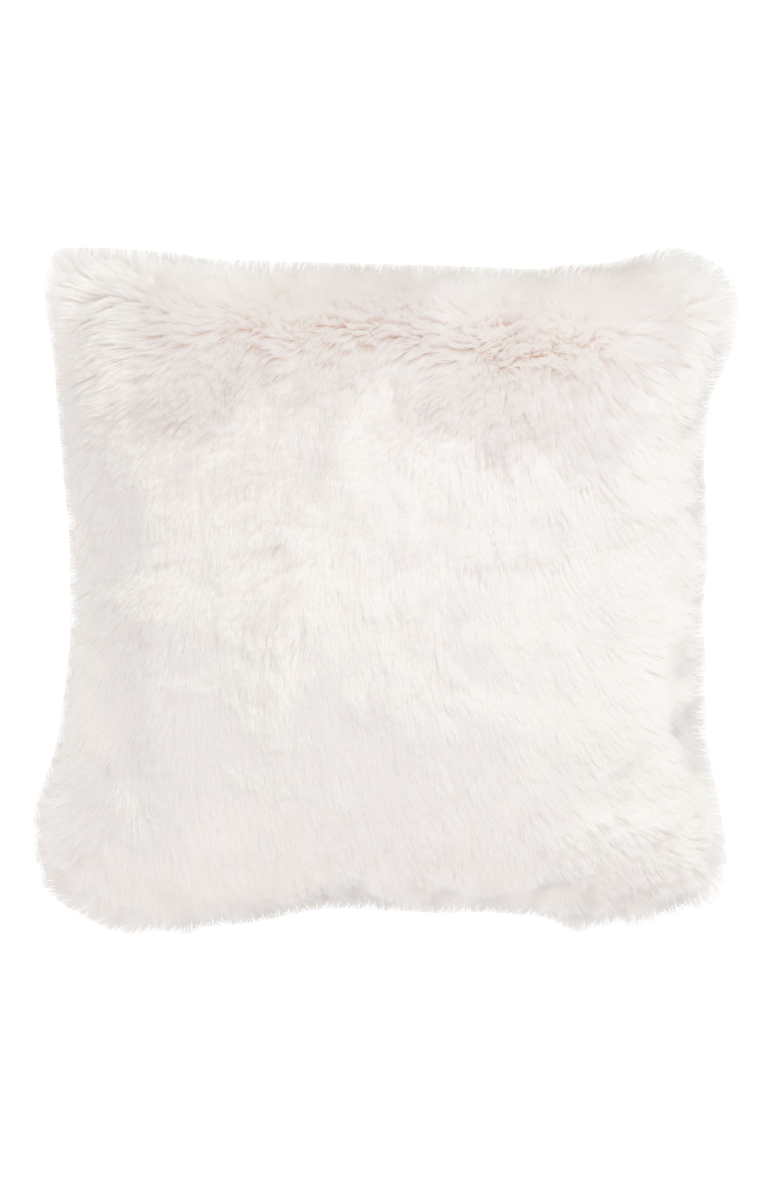 NORDSTROM AT HOME, Cuddle Up Faux Fur Pillow, Main thumbnail 1, color, GREY FOG