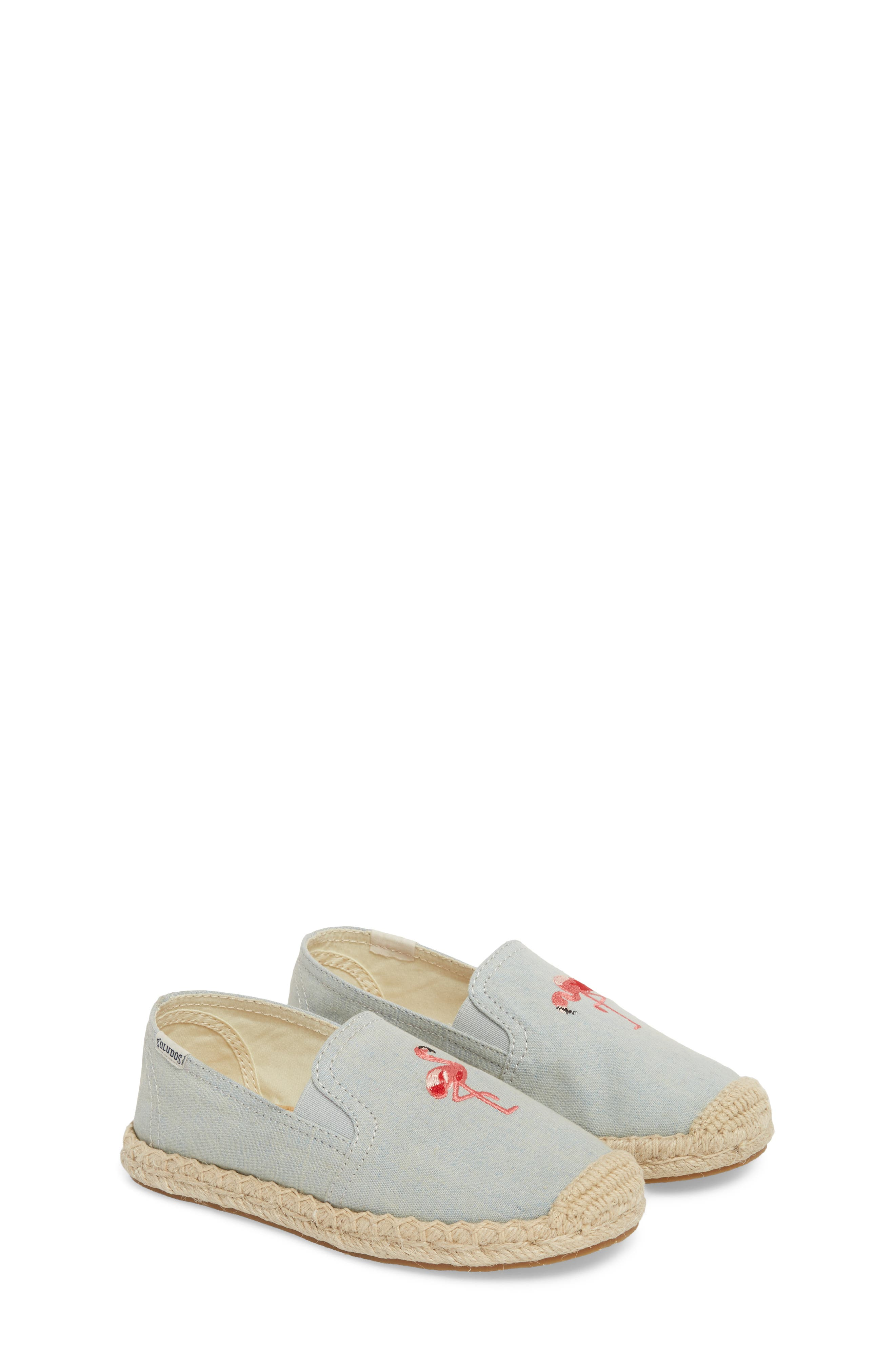 SOLUDOS, Flamingo Embroidered Espadrille, Alternate thumbnail 2, color, CHAMBRAY