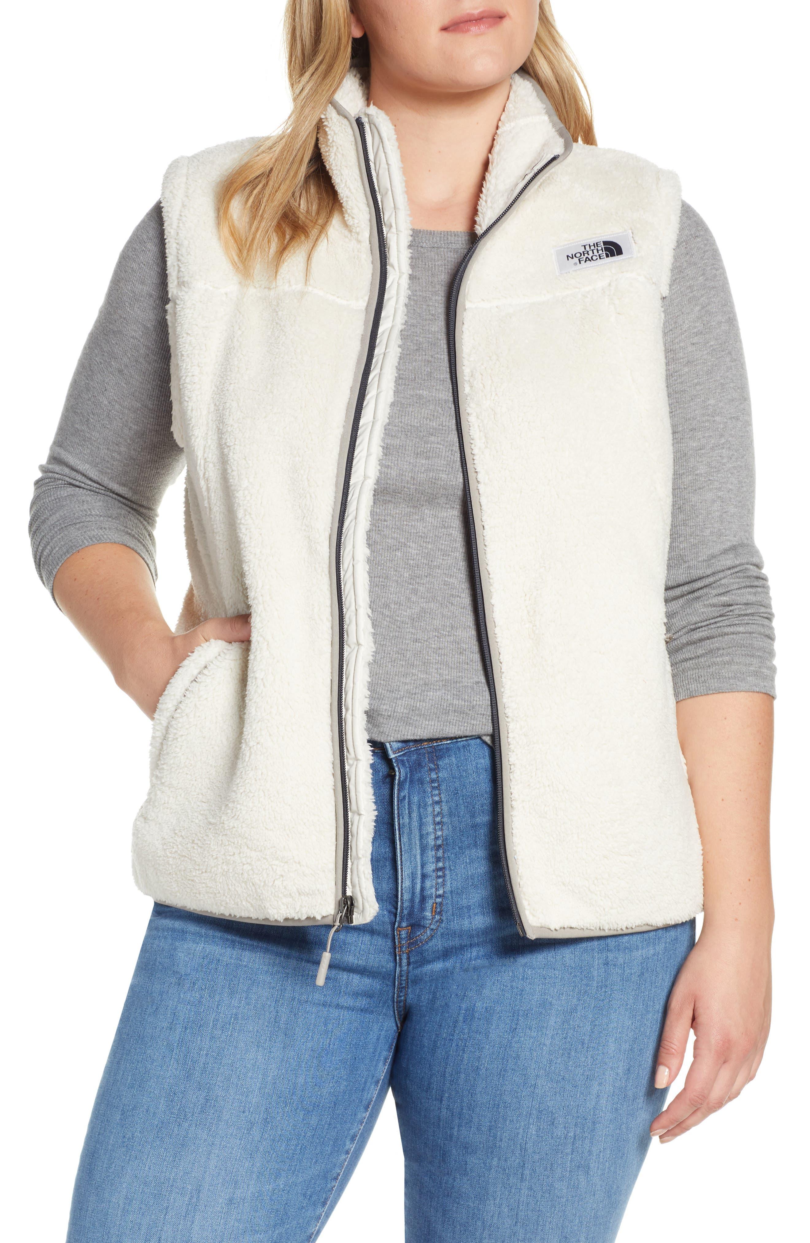 THE NORTH FACE, Campshire Fleece Vest, Main thumbnail 1, color, VINTAGE WHITE/ GREY