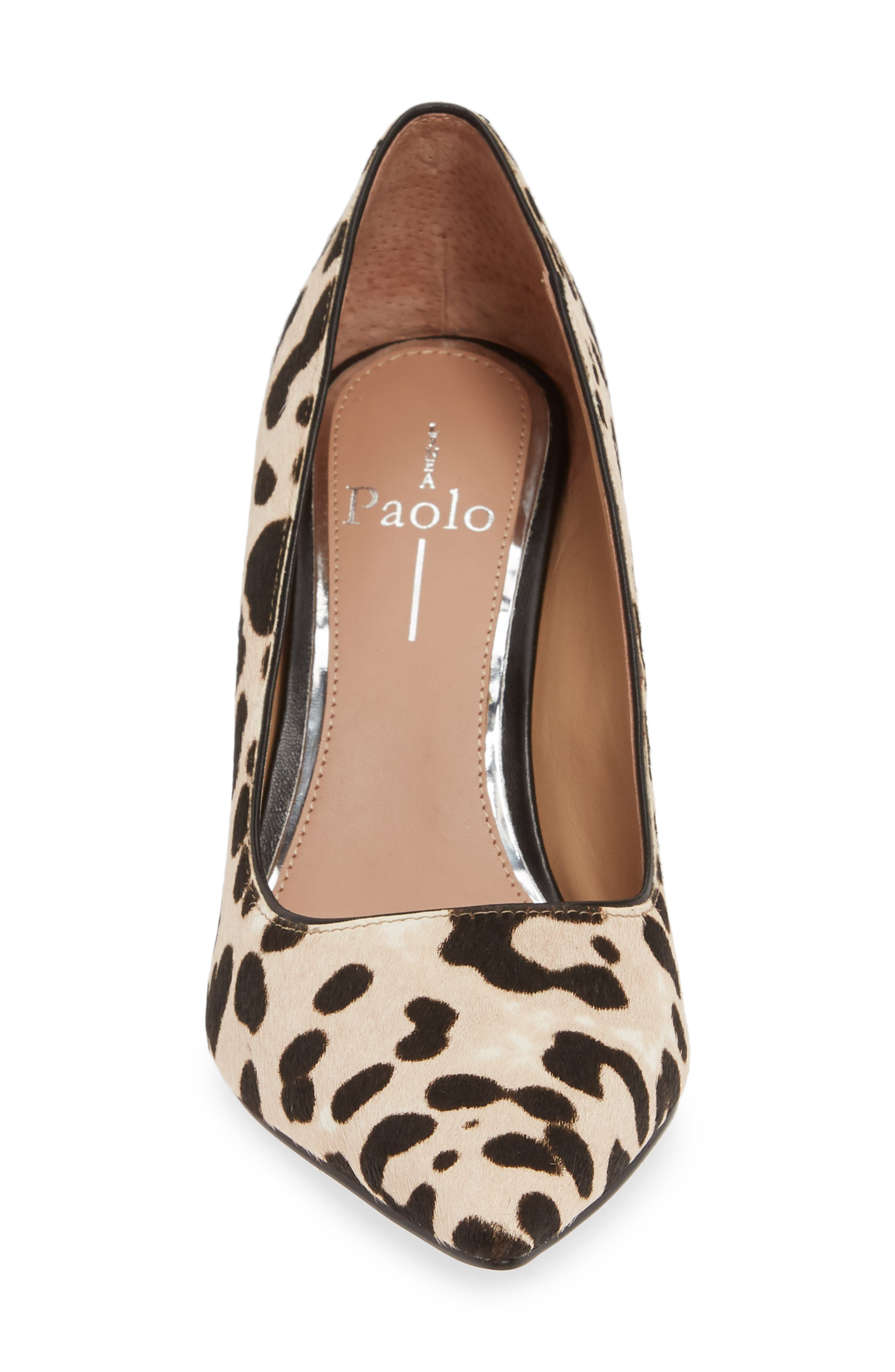 LINEA PAOLO, Payton Genuine Calf Hair Pointy Toe Pump, Alternate thumbnail 4, color, WHITE/ BLACK CALF HAIR