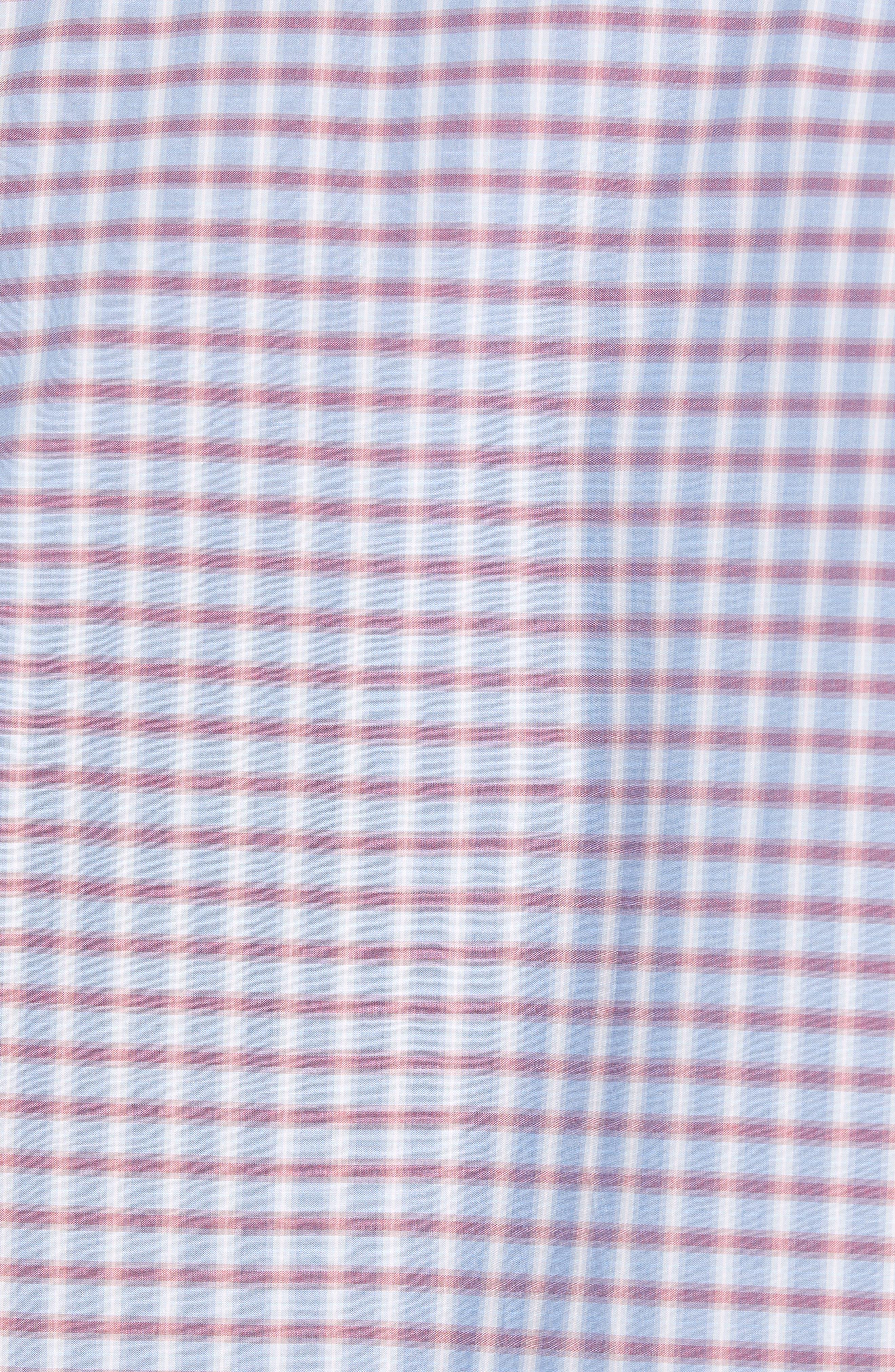 ZACHARY PRELL, Darrien Regular Fit Check Sport Short, Alternate thumbnail 5, color, FADED RED