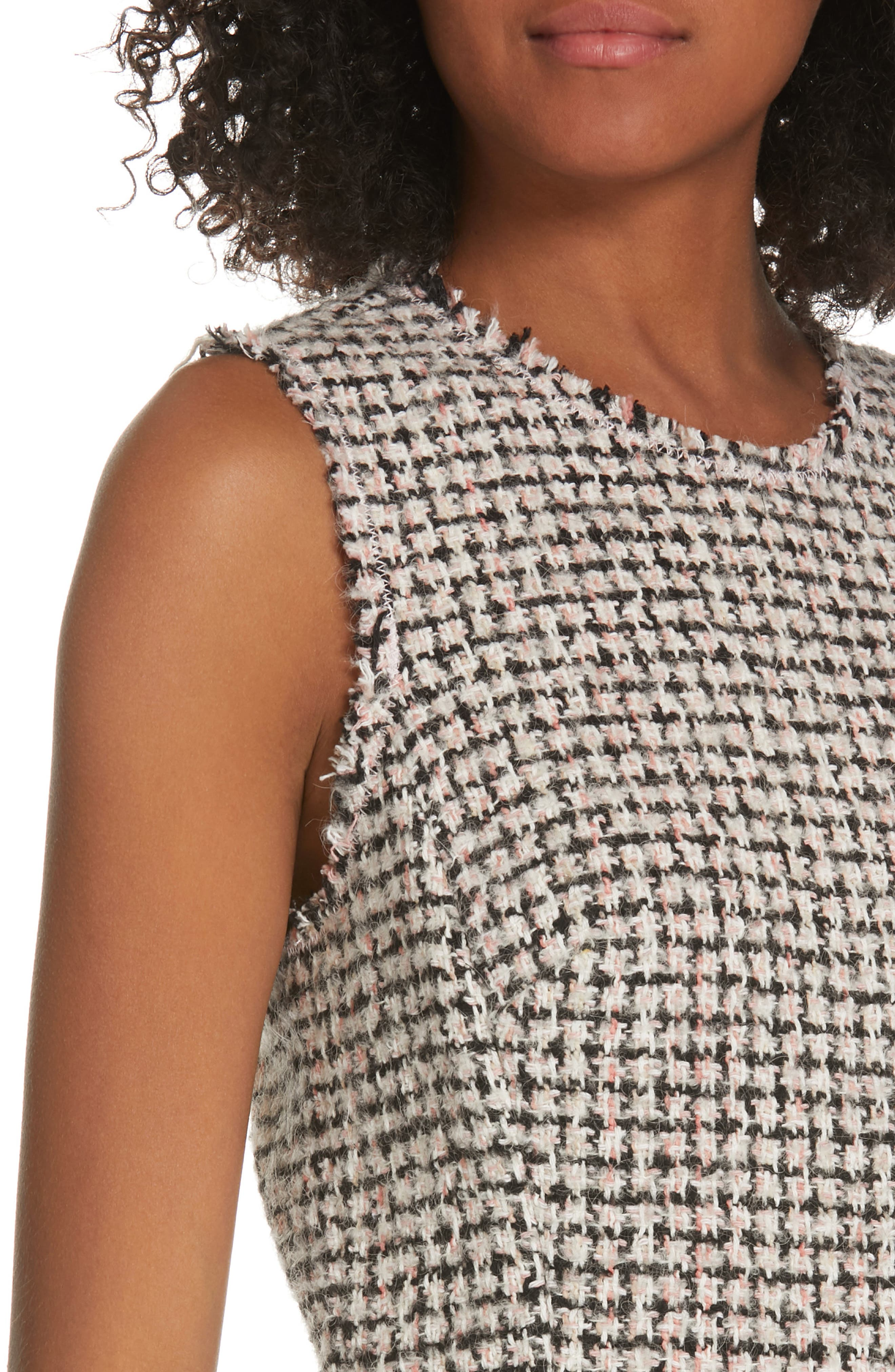 REBECCA TAYLOR, Houndstooth Tweed Dress, Alternate thumbnail 4, color, BLACK/ PINK COMBO