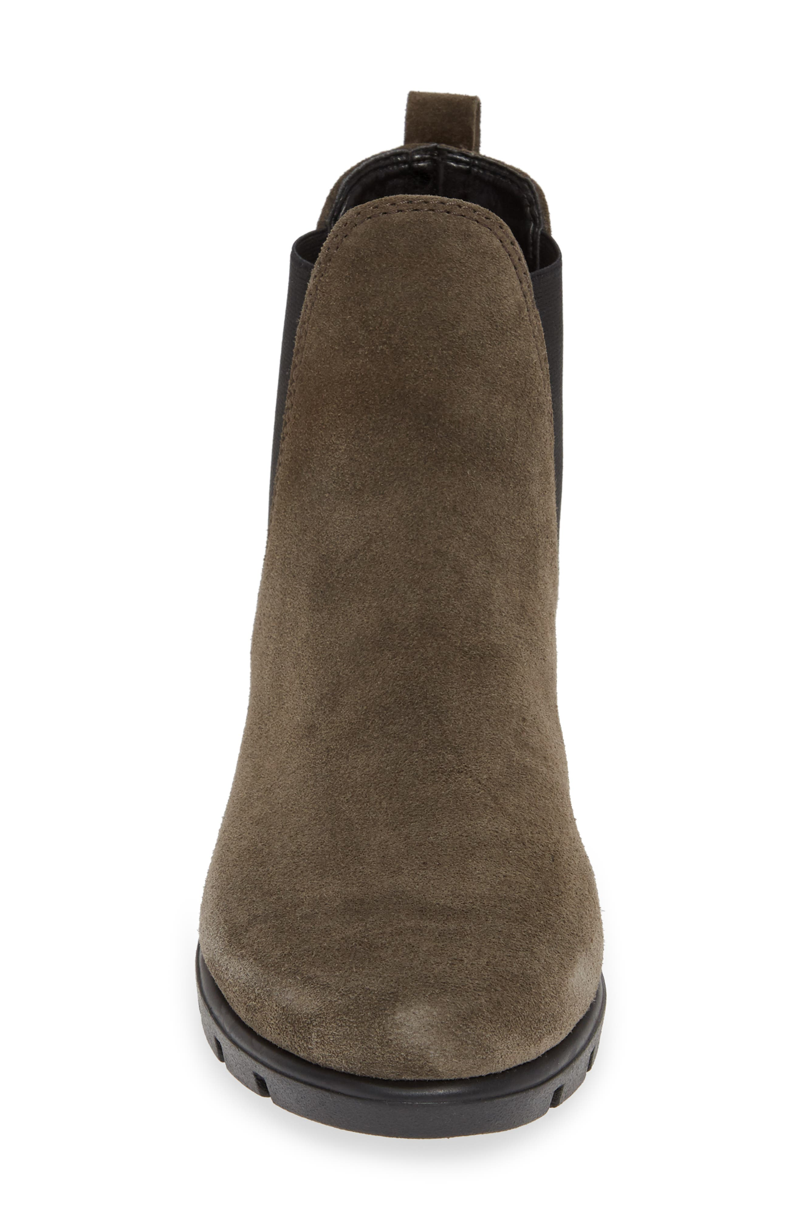 THE FLEXX, Slimmer Chelsea Wedge Boot, Alternate thumbnail 4, color, BROWN SUEDE
