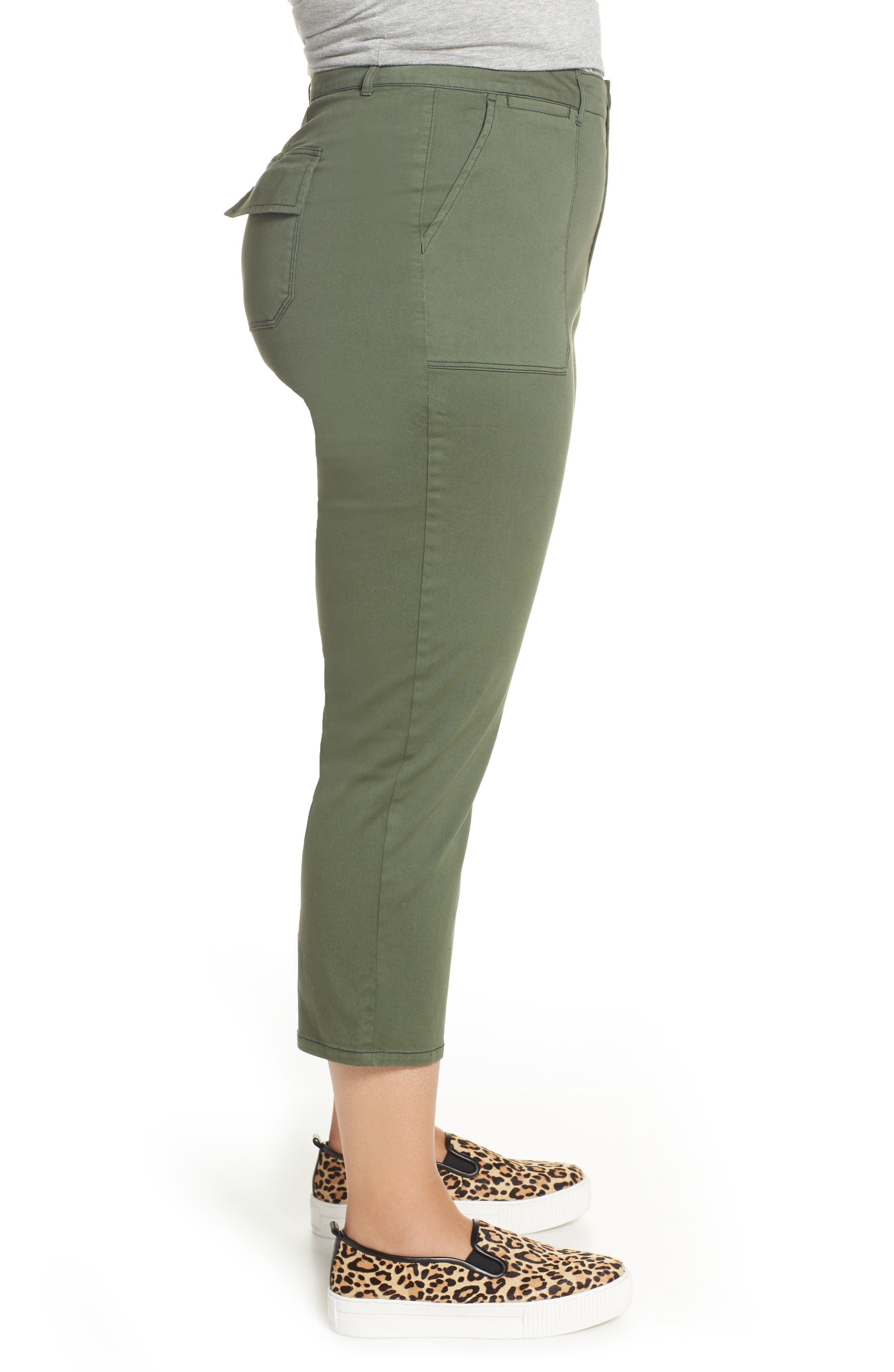 SANCTUARY, Peace Crop Chino Pants, Alternate thumbnail 4, color, PEACE GREEN