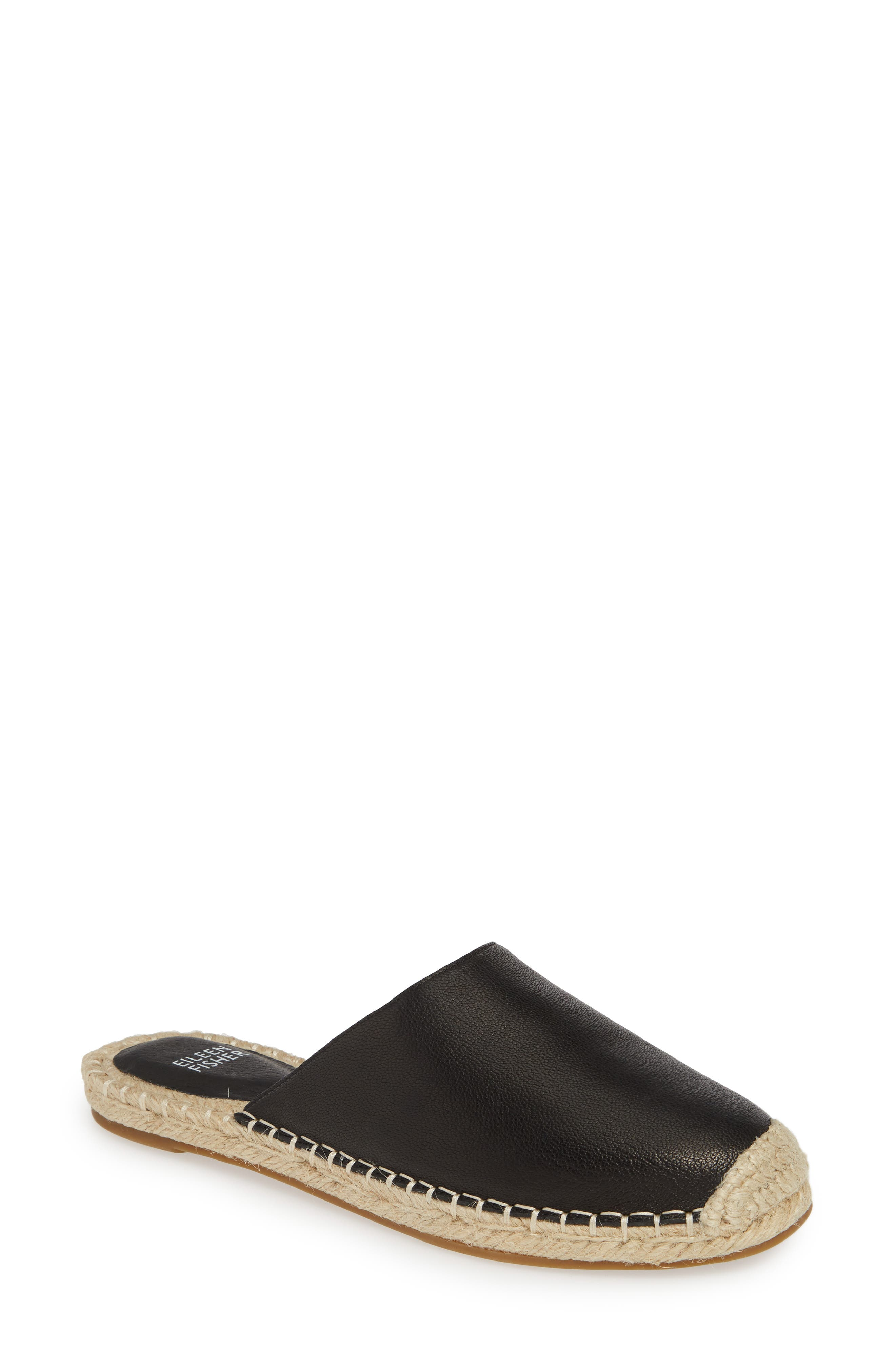 EILEEN FISHER Kai Mule, Main, color, BLACK TUMBLED LEATHER