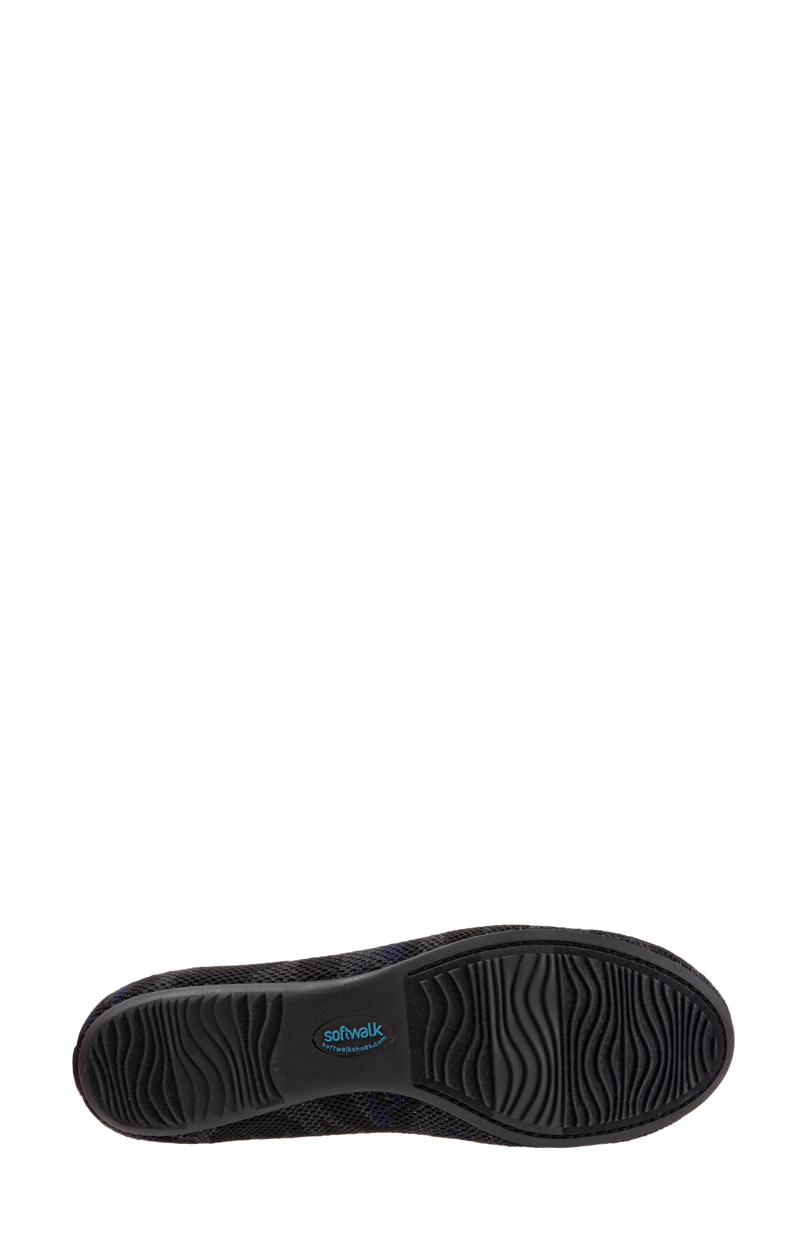 SOFTWALK<SUP>®</SUP>, Sicily Knit Flat, Alternate thumbnail 6, color, BLACK/ GREY FABRIC