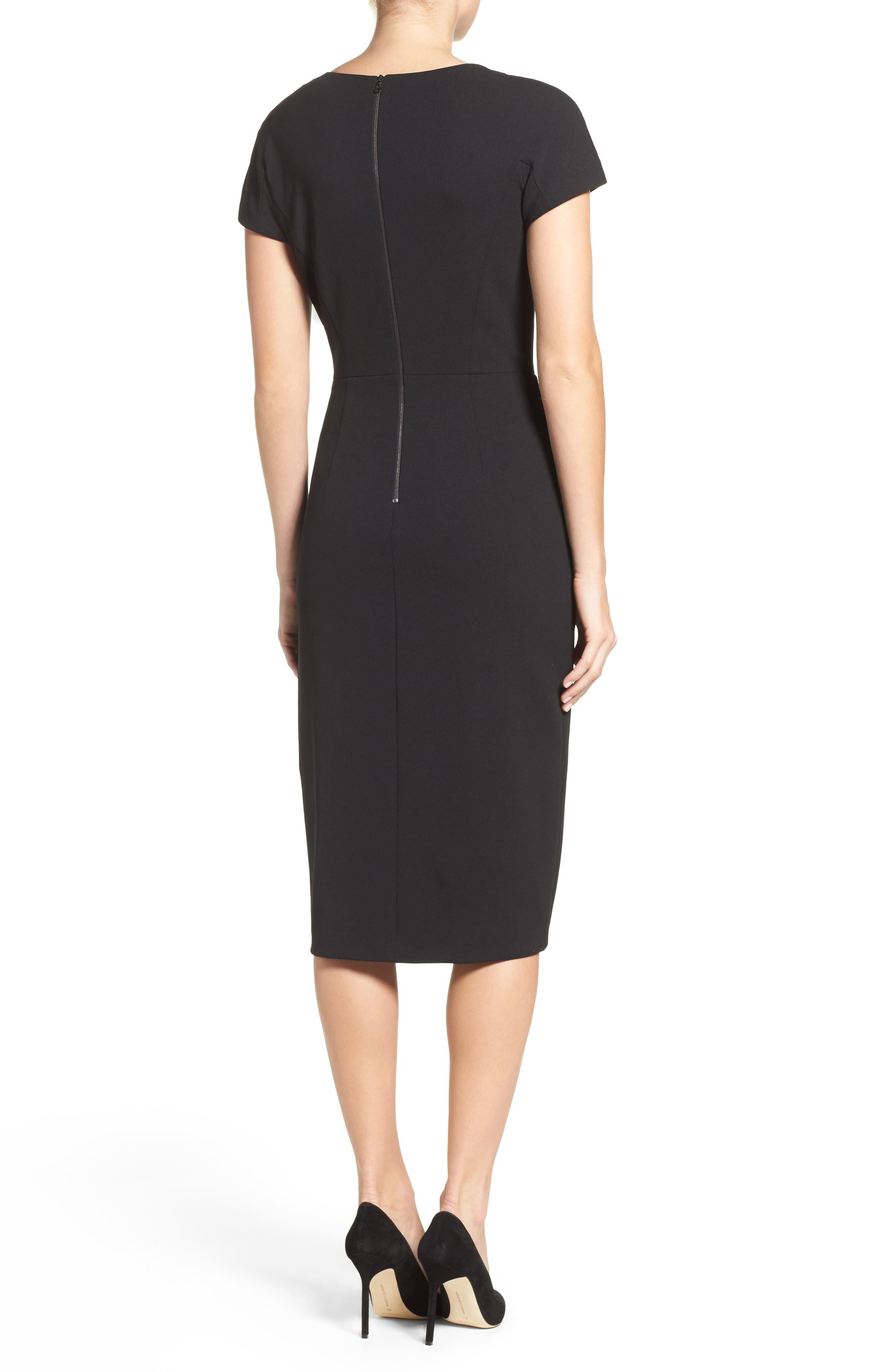 MAGGY LONDON, Asymmetrical Sheath Dress, Alternate thumbnail 2, color, 001