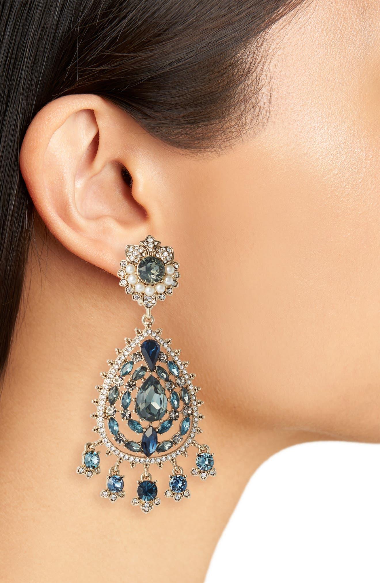 MARCHESA, Chandelier Earrings, Alternate thumbnail 2, color, BLUE MULTI/ GOLD