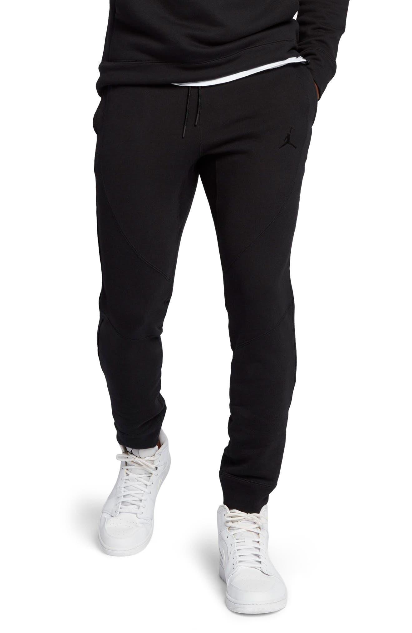 JORDAN, Wings Fleece Pants, Main thumbnail 1, color, BLACK/ BLACK